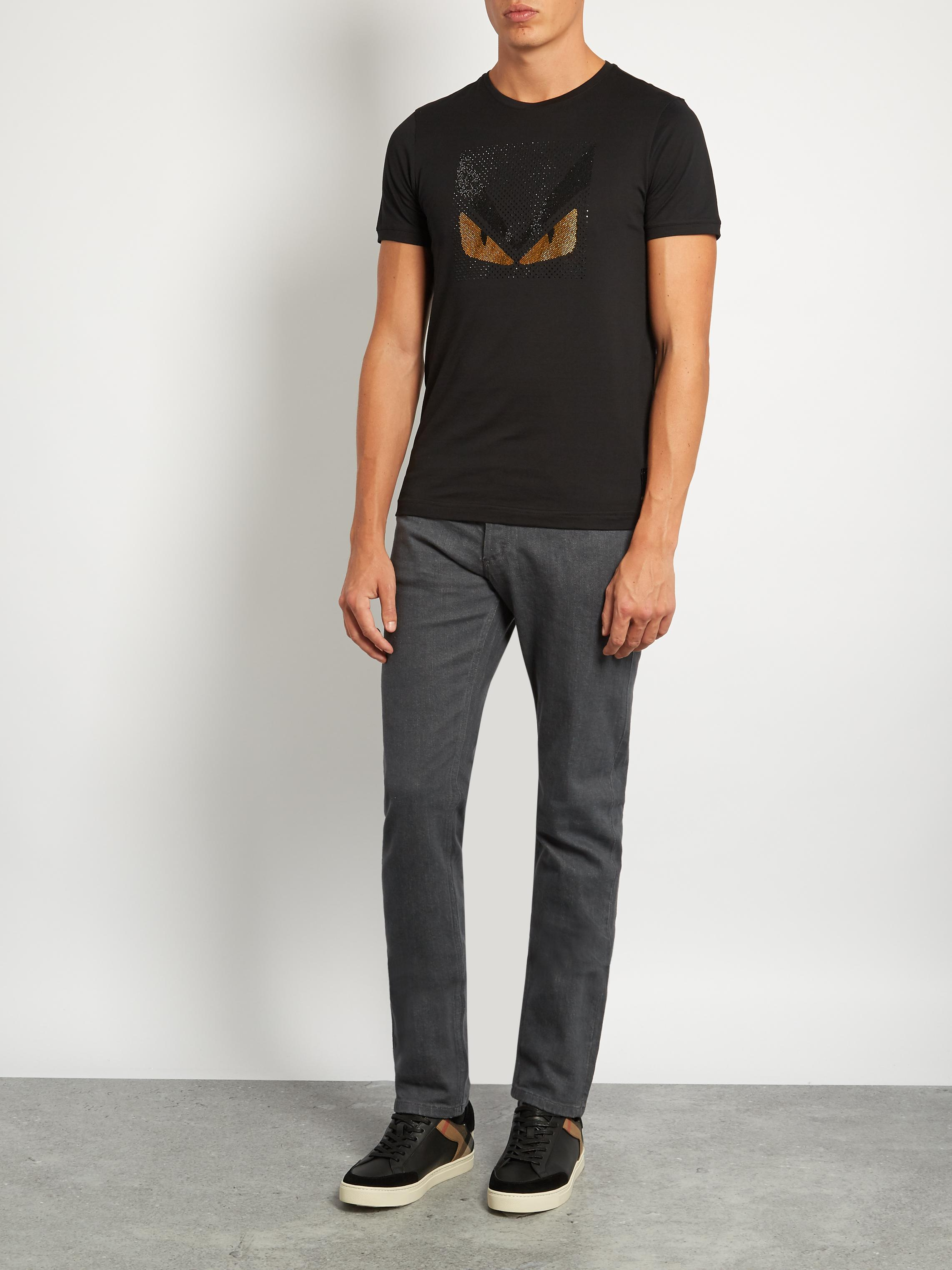 75351f05dc48 Lyst - Fendi Bag Bugs-embellished Cotton-jersey T-shirt in Black for Men