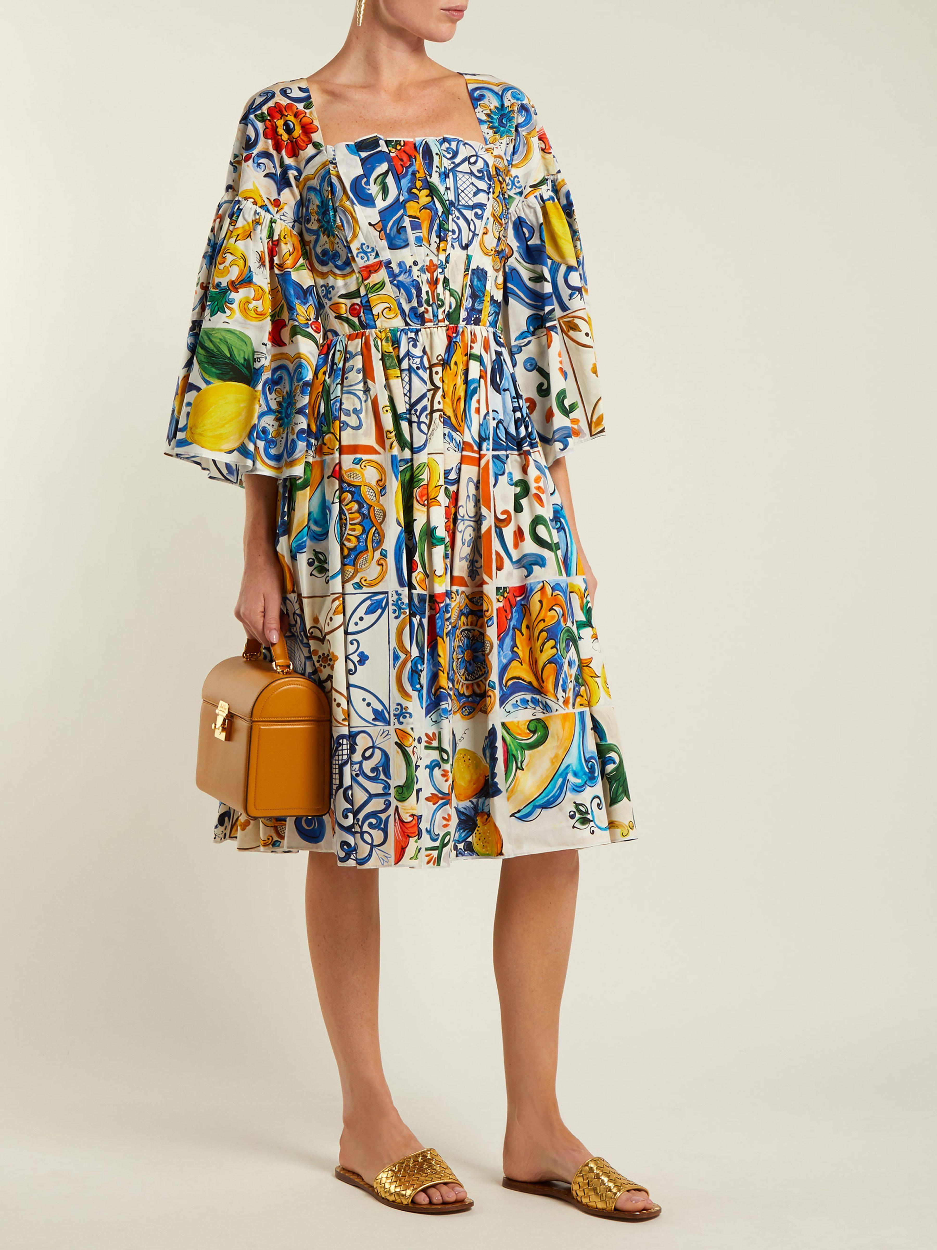 75caab03b106 Dolce   Gabbana Majolica Print Square Neck Cotton Poplin Dress in Blue -  Save 17% - Lyst