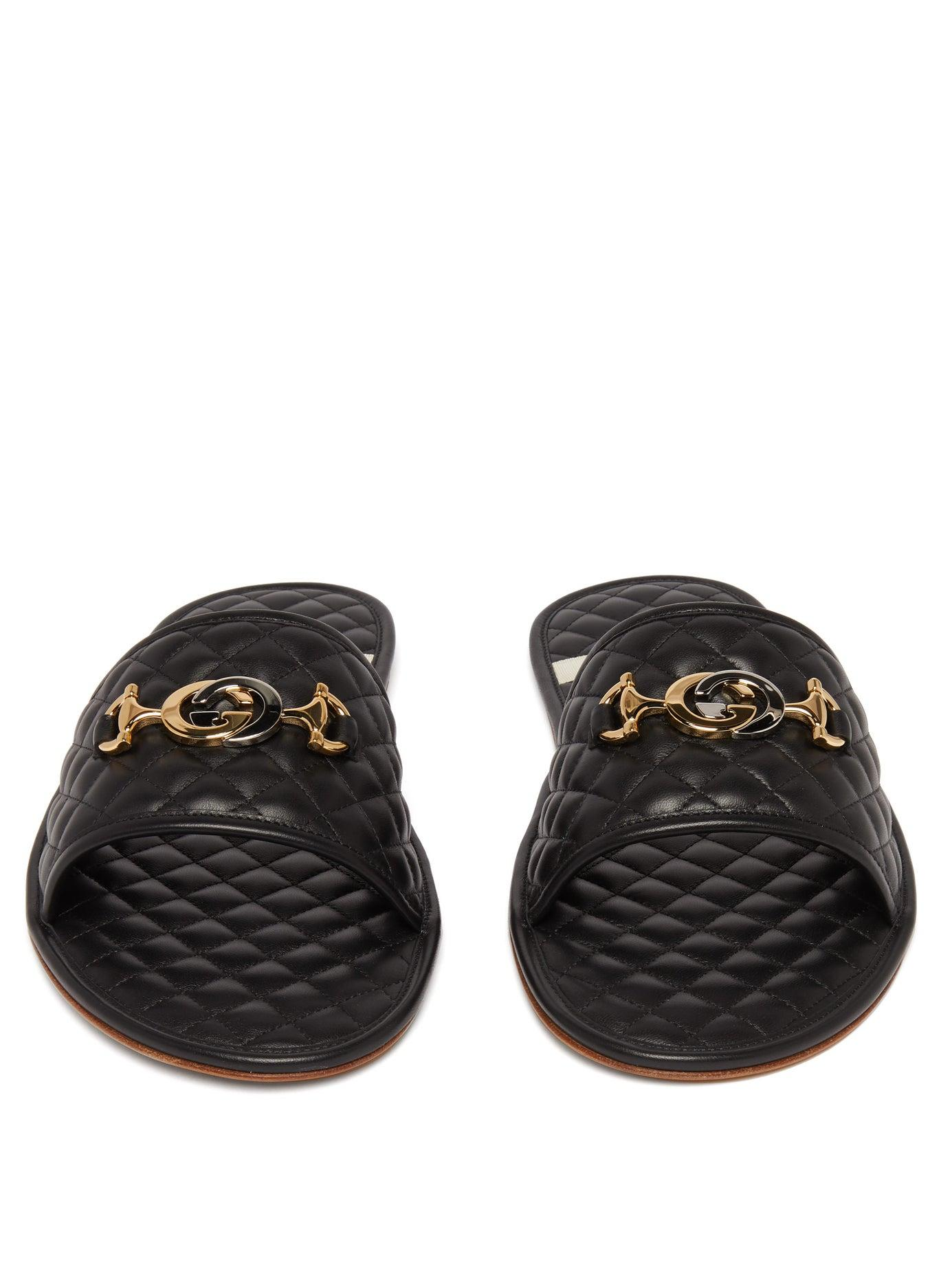 2e18717f086 Men's Black Gg Plaque Quilted Leather Slippers