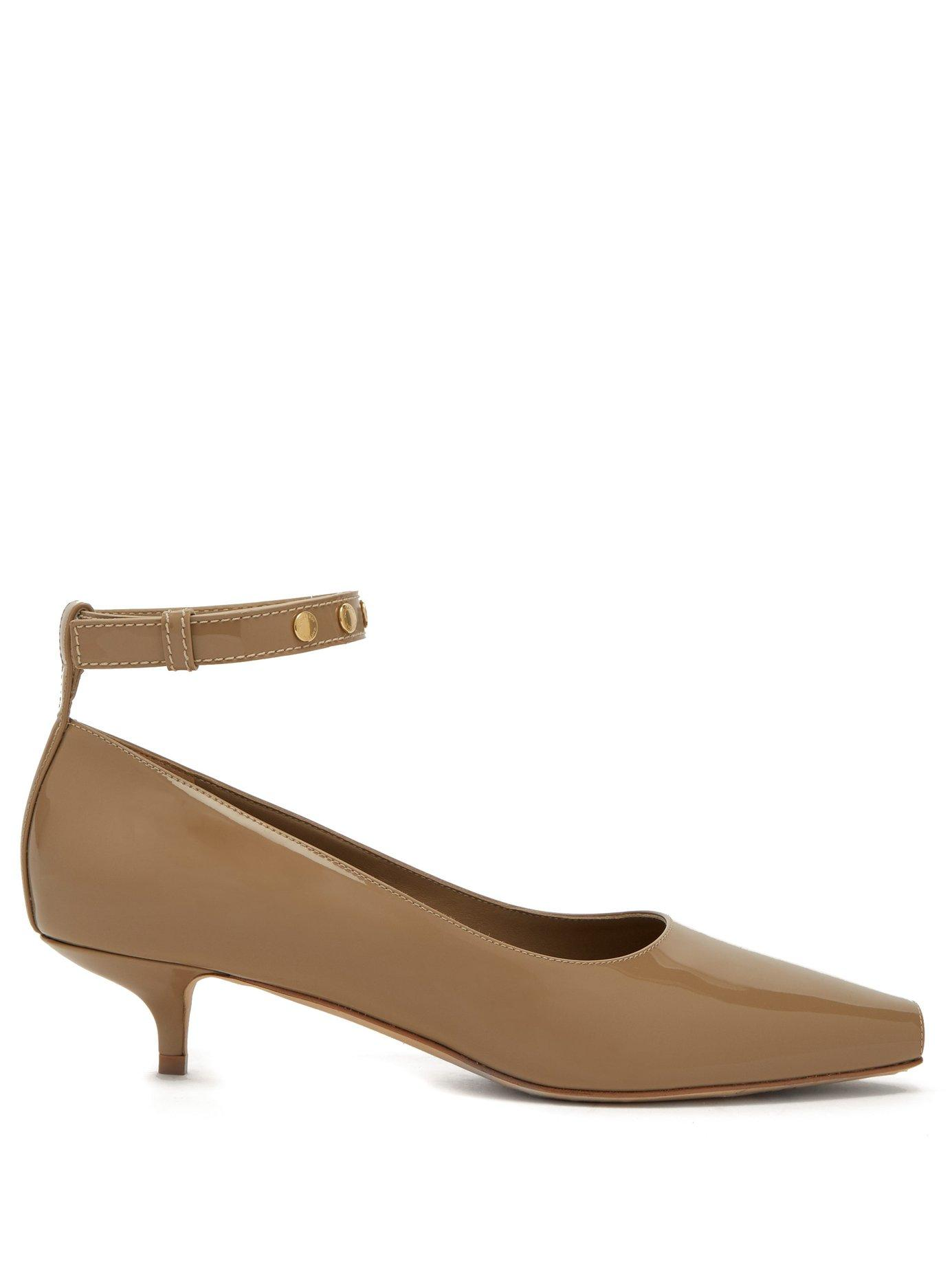 6becf3e7076e Lyst - Burberry Dill Patent Leather Kitten Heels in Natural