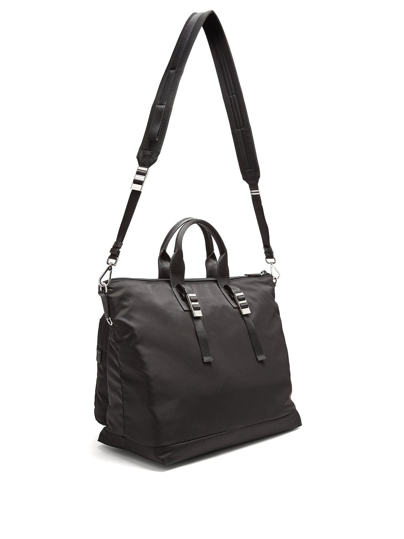 d3ec4b576764 Lyst - Prada Double Pocket Nylon Holdall in Black for Men