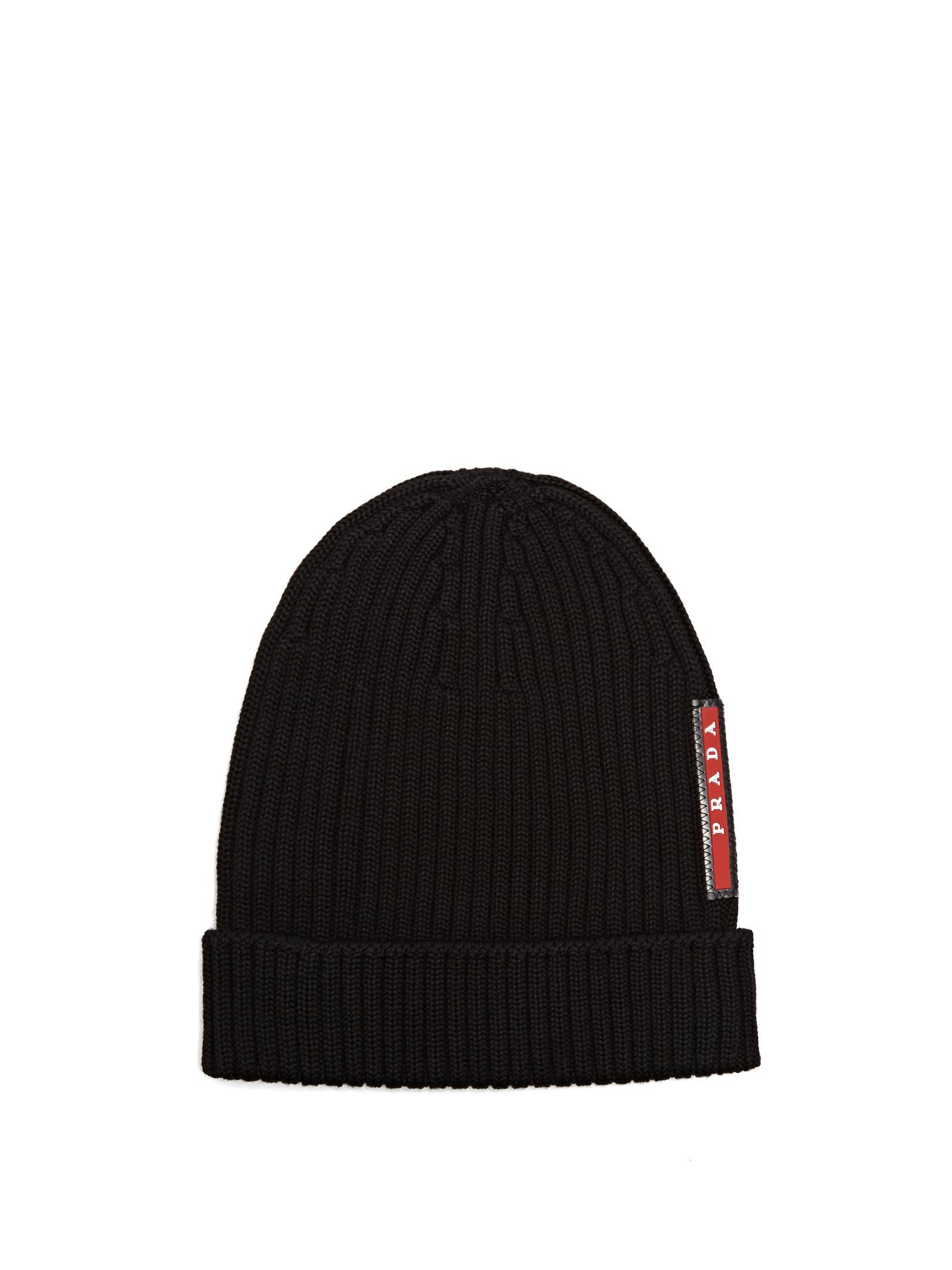 2377baf3e9284 Prada Ribbed-knit Beanie Hat in Black for Men - Lyst