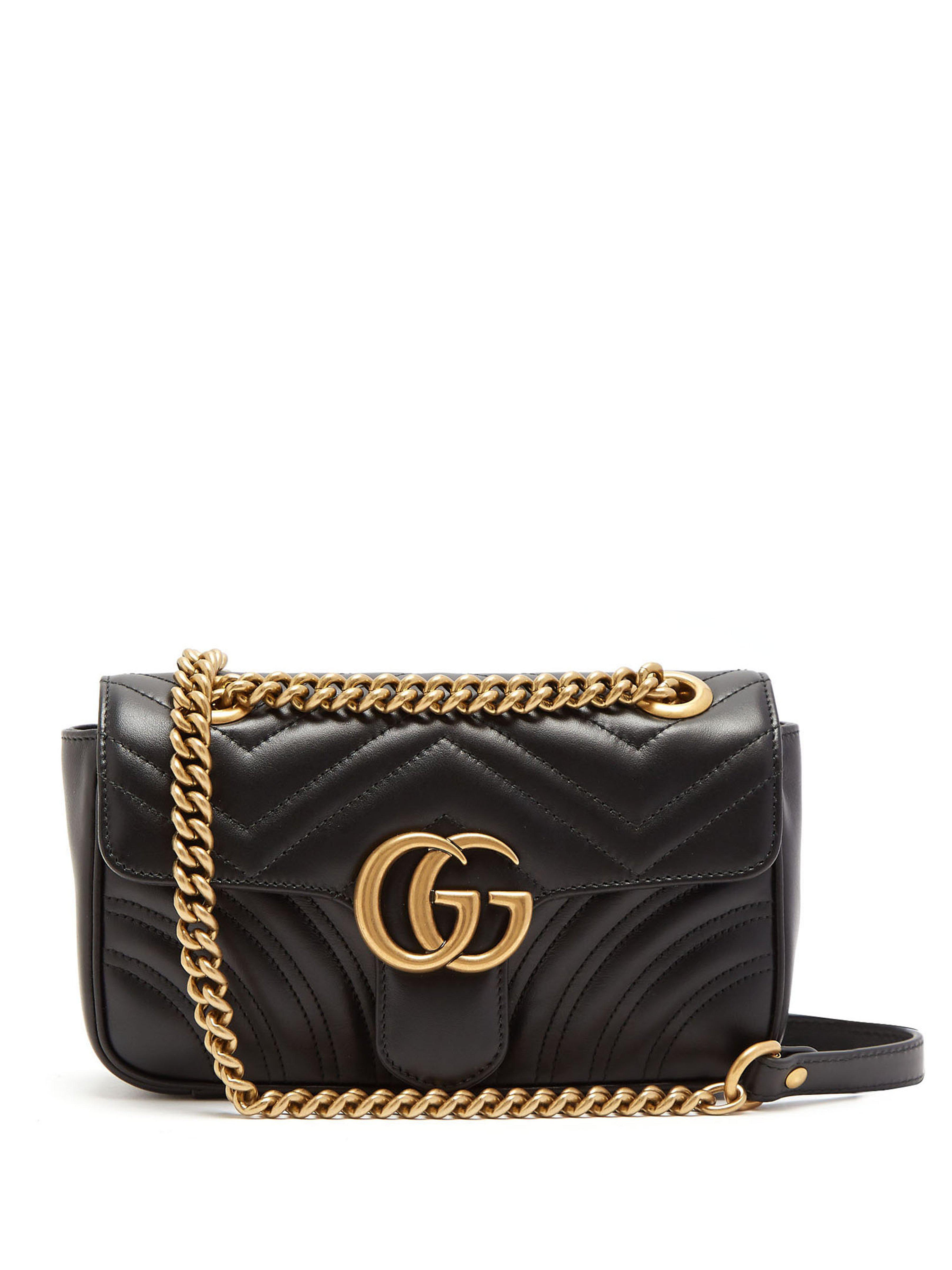 6a8a234f80f Gucci. Sac à bandoulière en cuir GG Marmont Medium femme de coloris noir