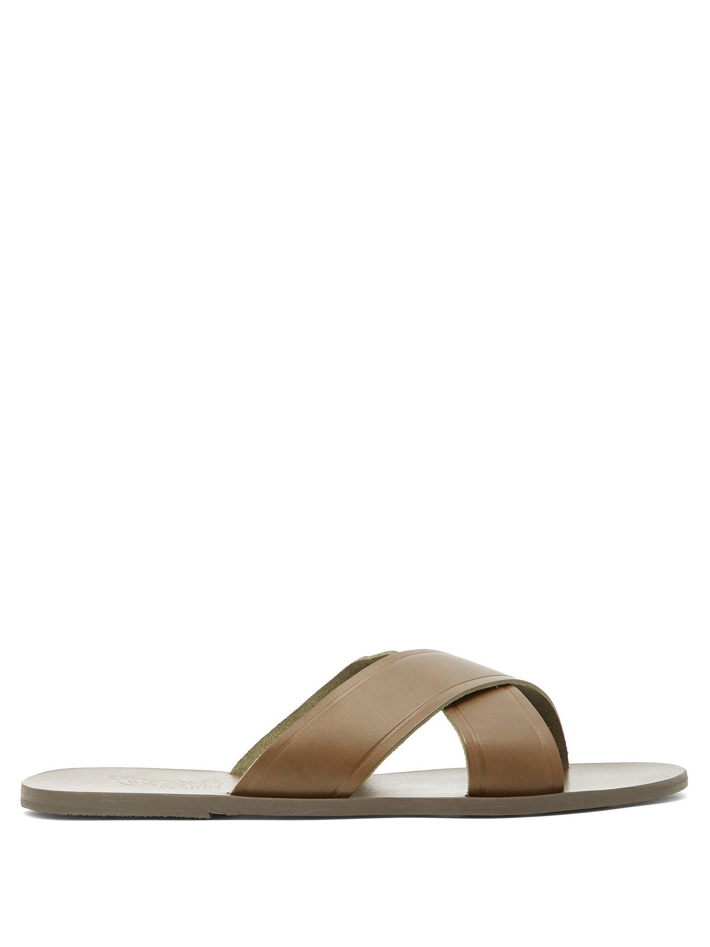 241e505ccbafaa Ancient Greek Sandals. Men s Natural Kritonas Cross Over Strap Leather  Slides