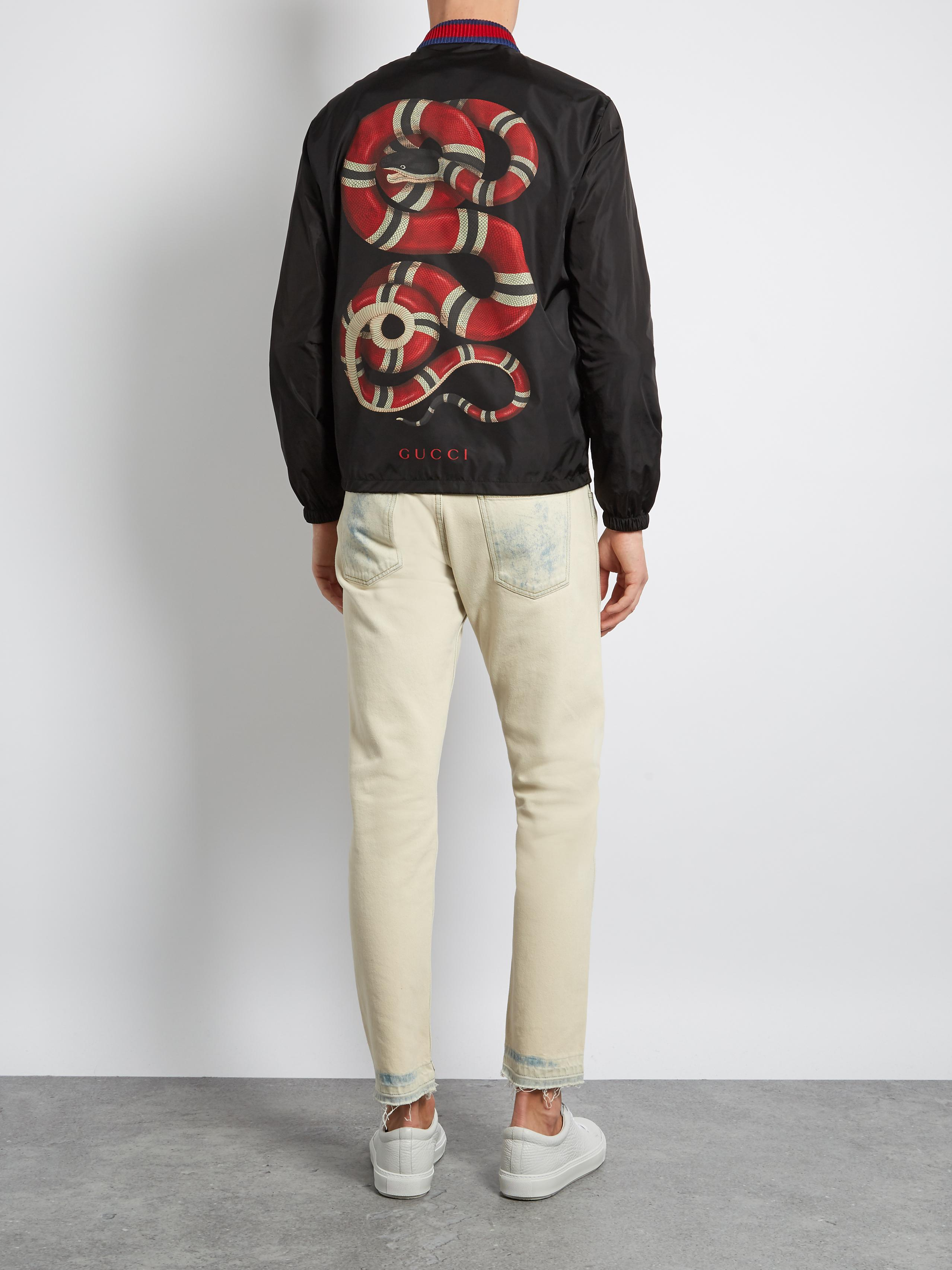 Lyst Gucci Snake Print Lightweight Bomber Jacket In