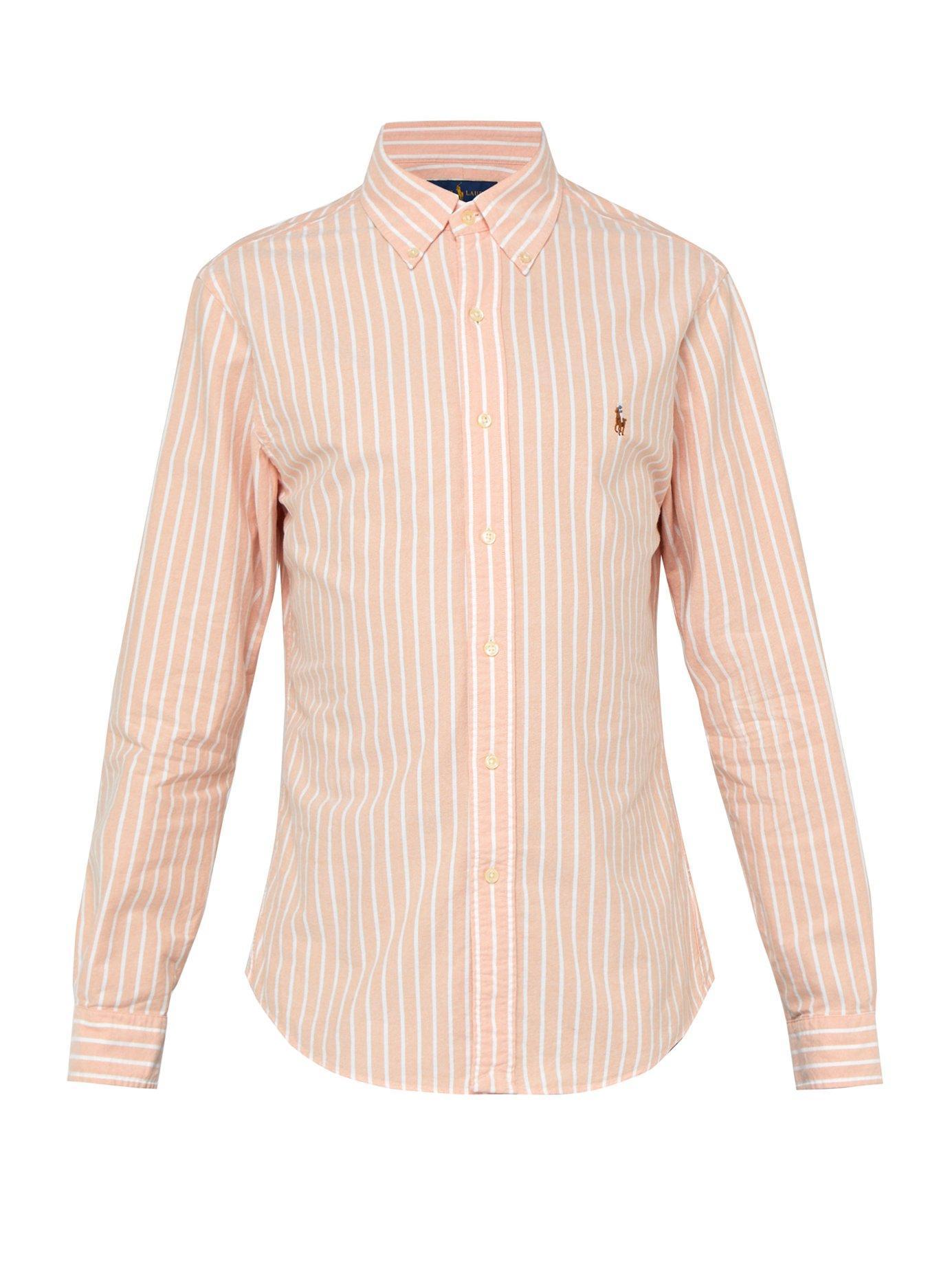 fc5298fc3 Polo Ralph Lauren. Men's Orange Slim Fit Striped Cotton Oxford Shirt
