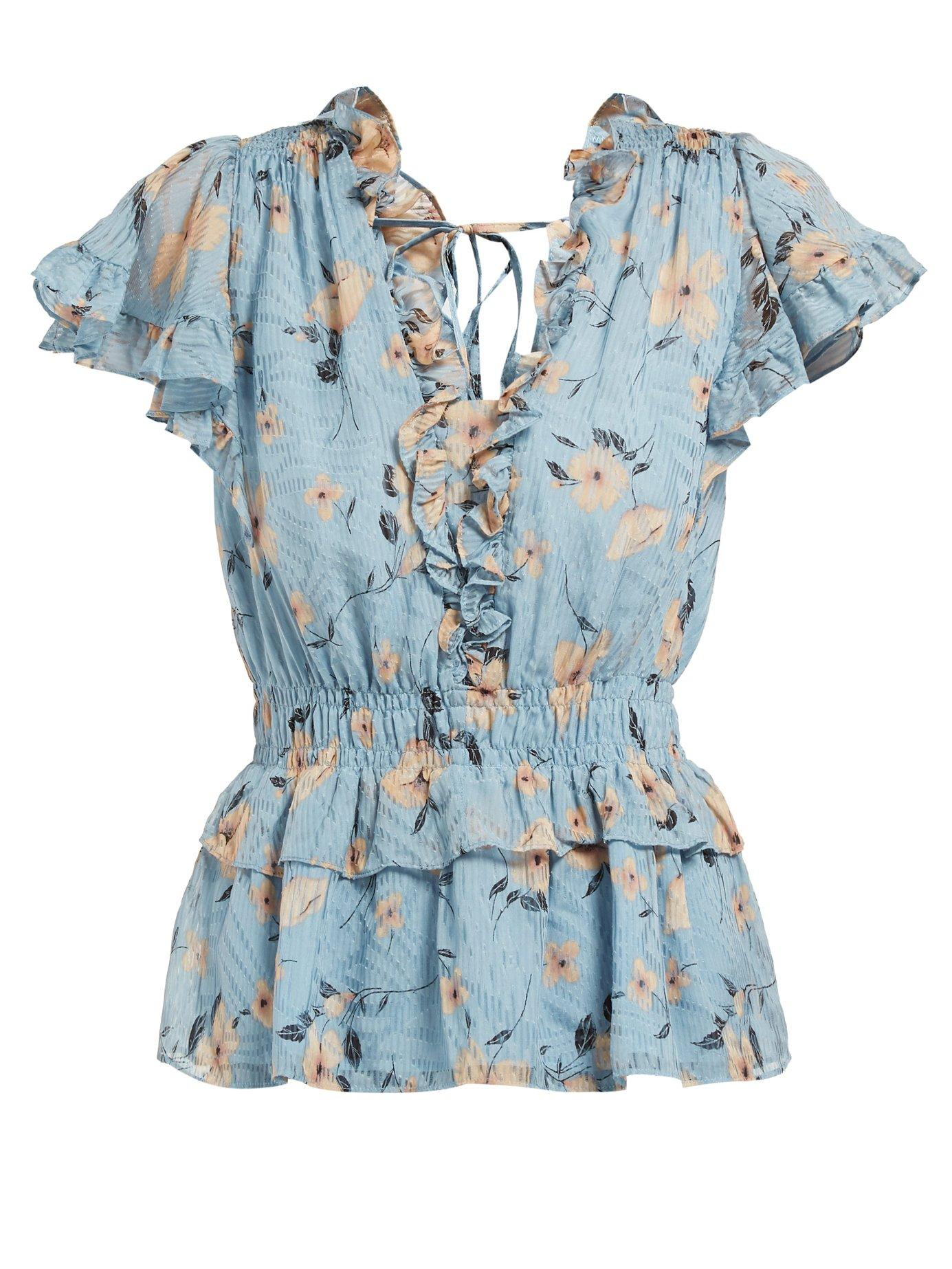 6cbc74d15028a Lyst - Rebecca Taylor Floral Print Ruffled Silk Blend Blouse in Blue