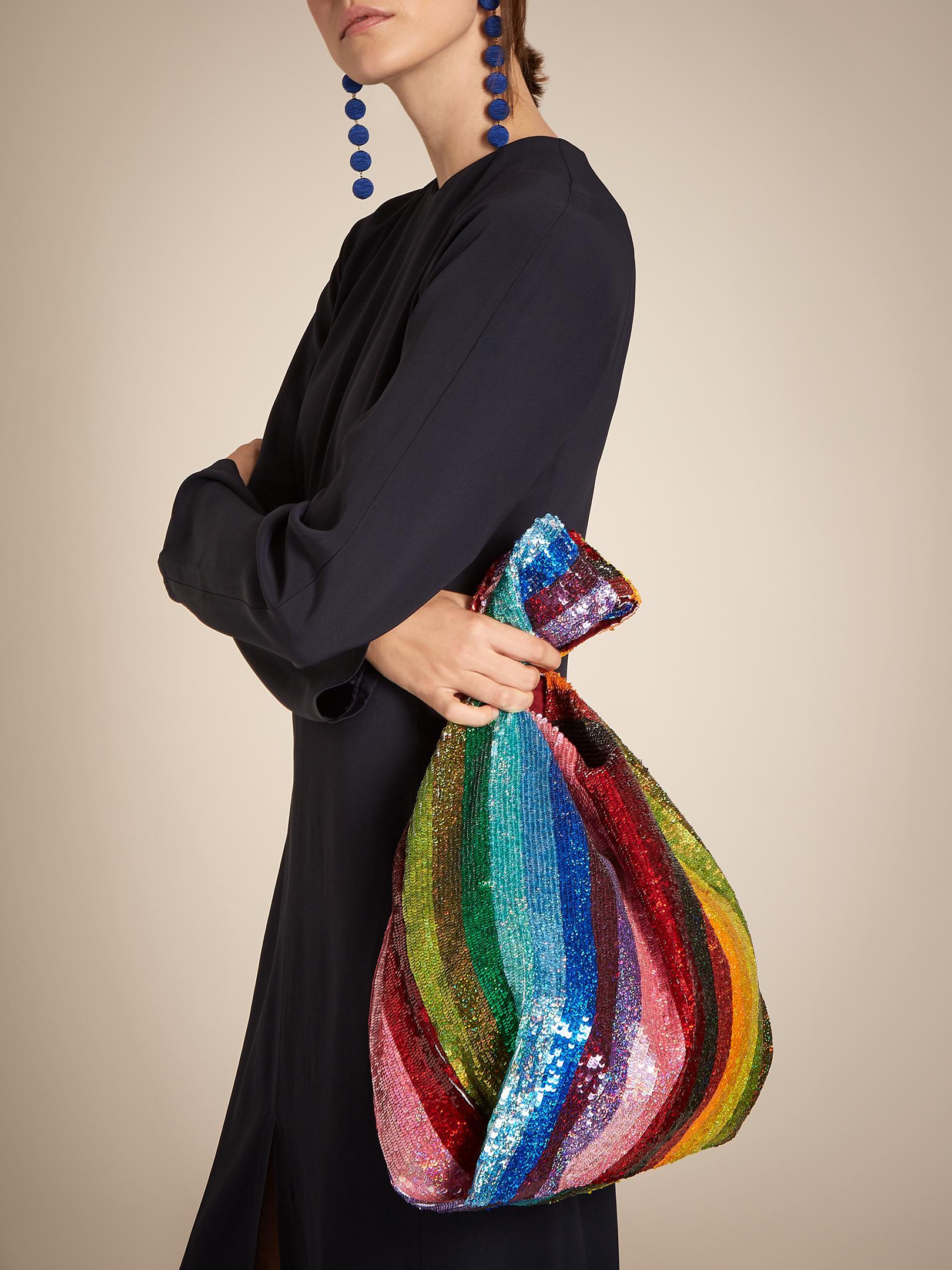 aeab63ff Ashish Striped Sequin-embellished Bag - Lyst