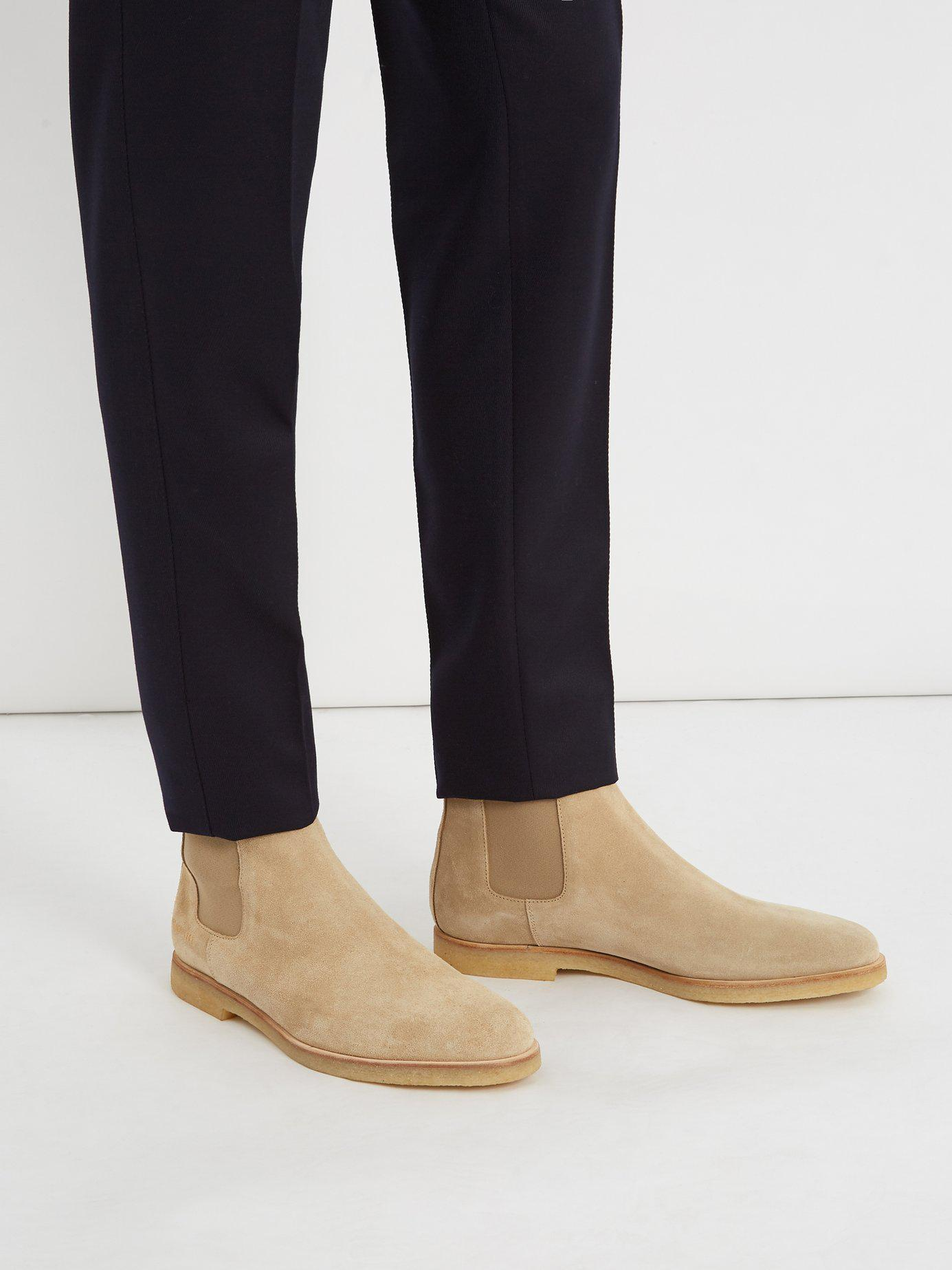 88fe523eac95 Lyst - Common Projects Suede Chelsea Boots in Natural for Men - Save 50%