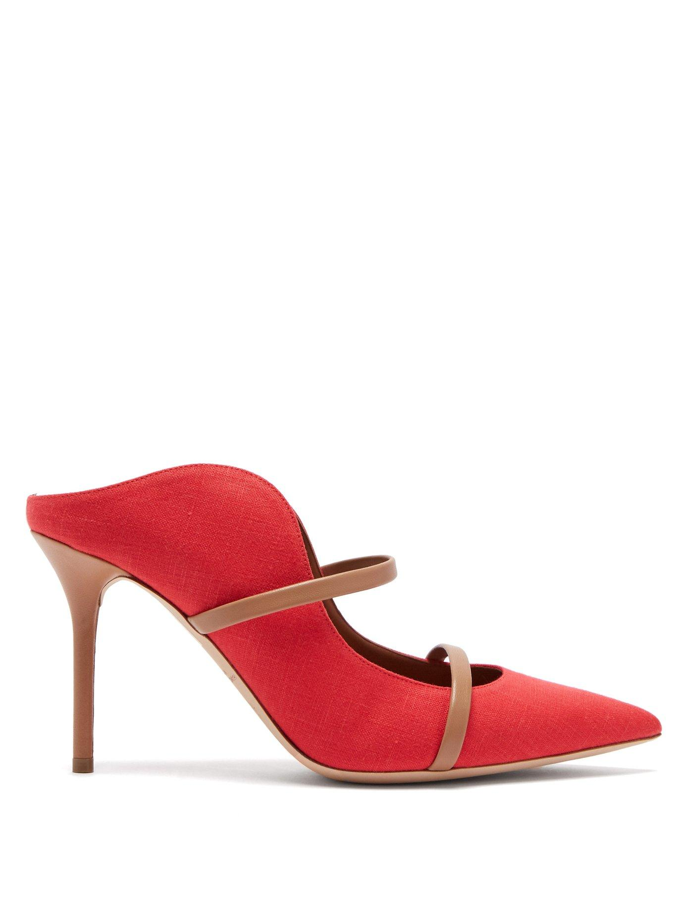 b830b296d767 Lyst - Malone Souliers Maureen Linen And Leather Mules in Red