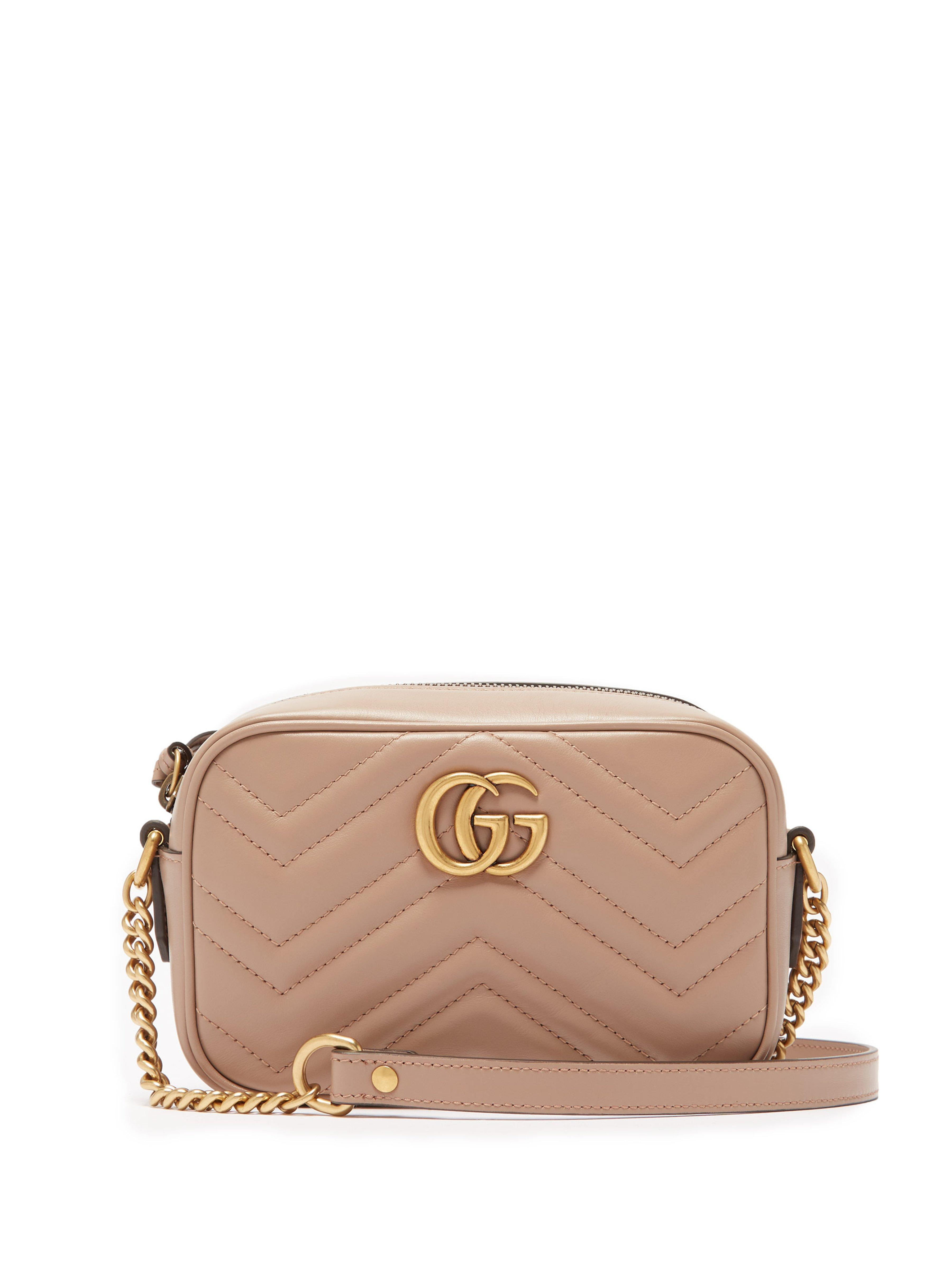 c28b2f7be5a Gucci Gg Marmont Mini Quilted Leather Cross Body Bag in Natural - Lyst
