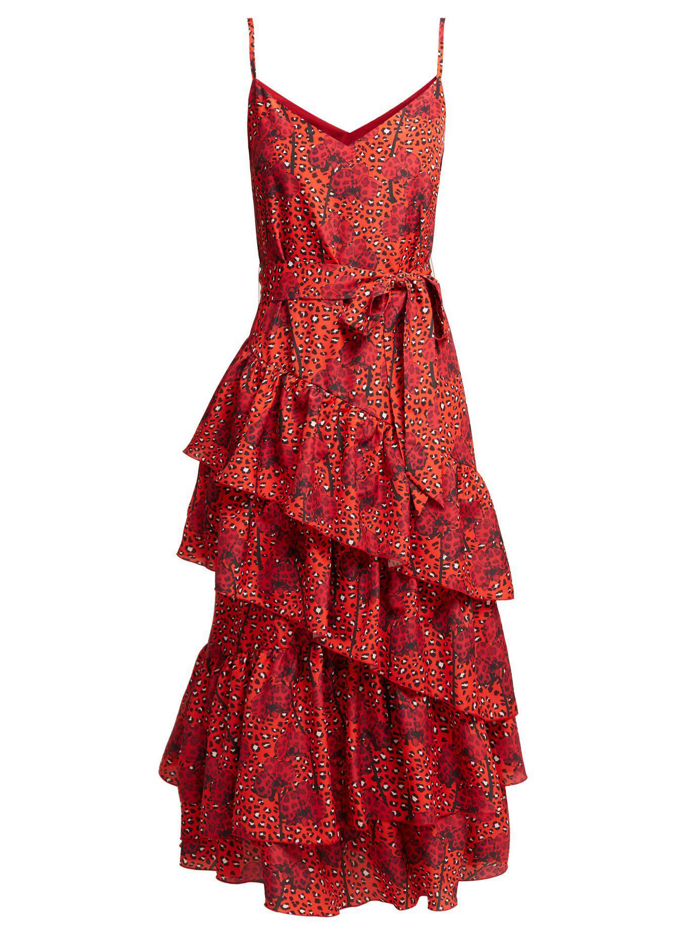 3aac2b6f5e Borgo De Nor. Women s Red Coco Orchid And Leopard Print Crepe Midi Dress