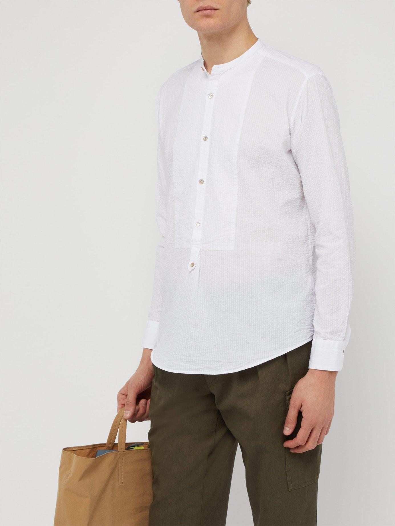 fdd52d19402882 Lyst - The Gigi Grandad Collar And Bib Cotton Seersucker Shirt in White for  Men - Save 60%