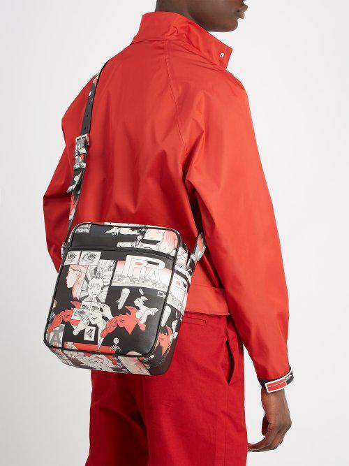 d9adc77e21ef Prada Comic-strip Print Leather Messenger Bag in Black for Men - Lyst