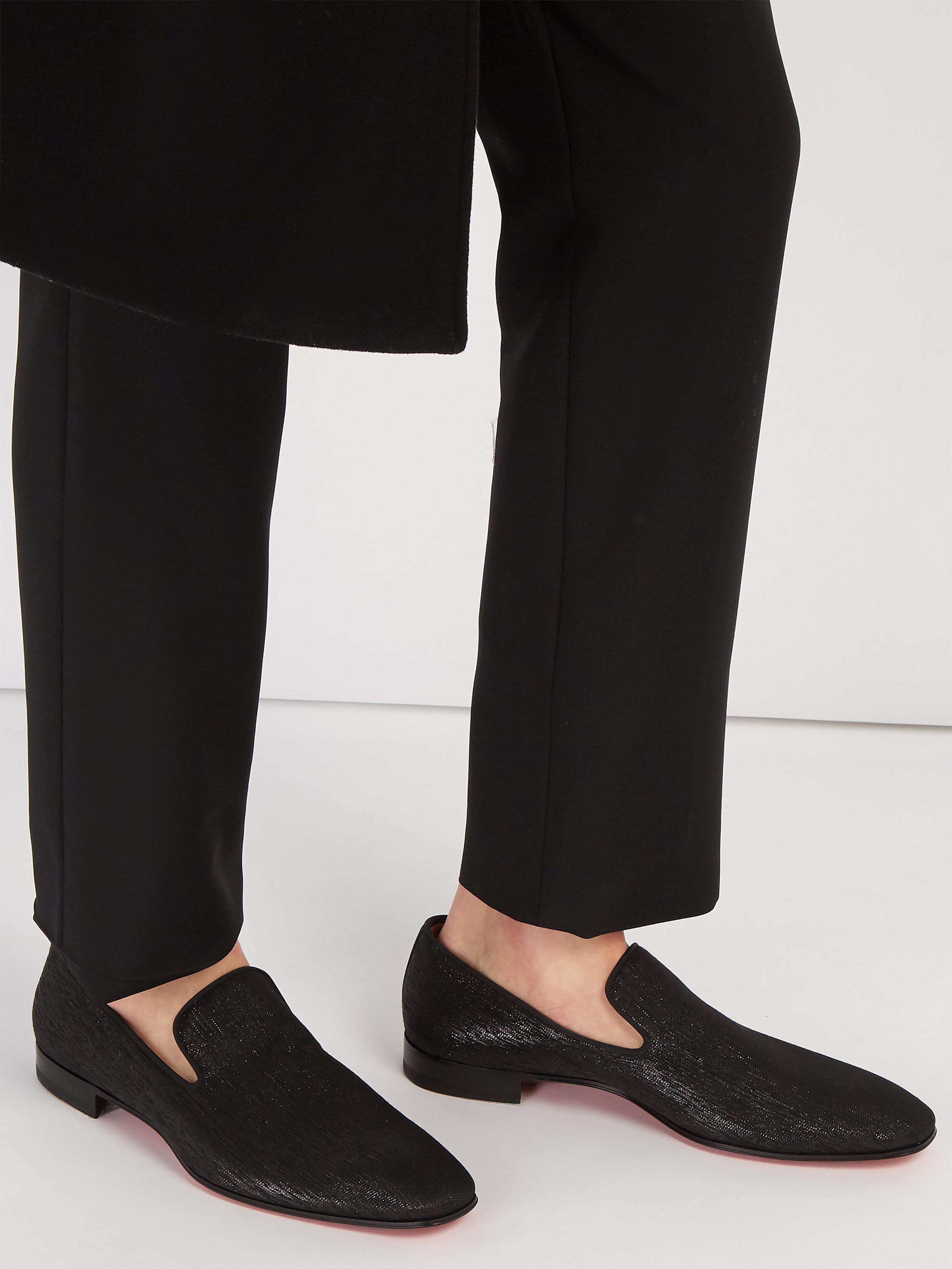 0f645316424e Christian Louboutin Dandelion Metallic Shantung Loafers in Black for Men -  Lyst