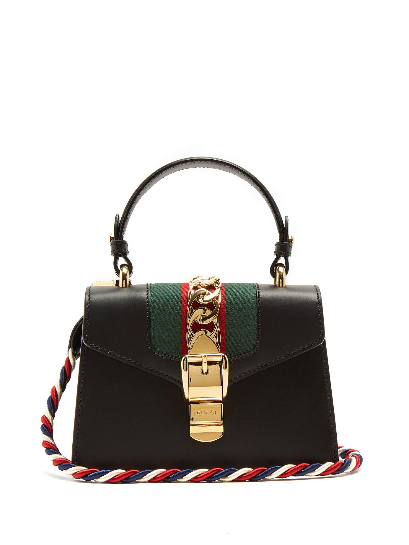 6c44b453e8a Lyst - Gucci Sylvie Mini Leather Cross Body Bag in Black