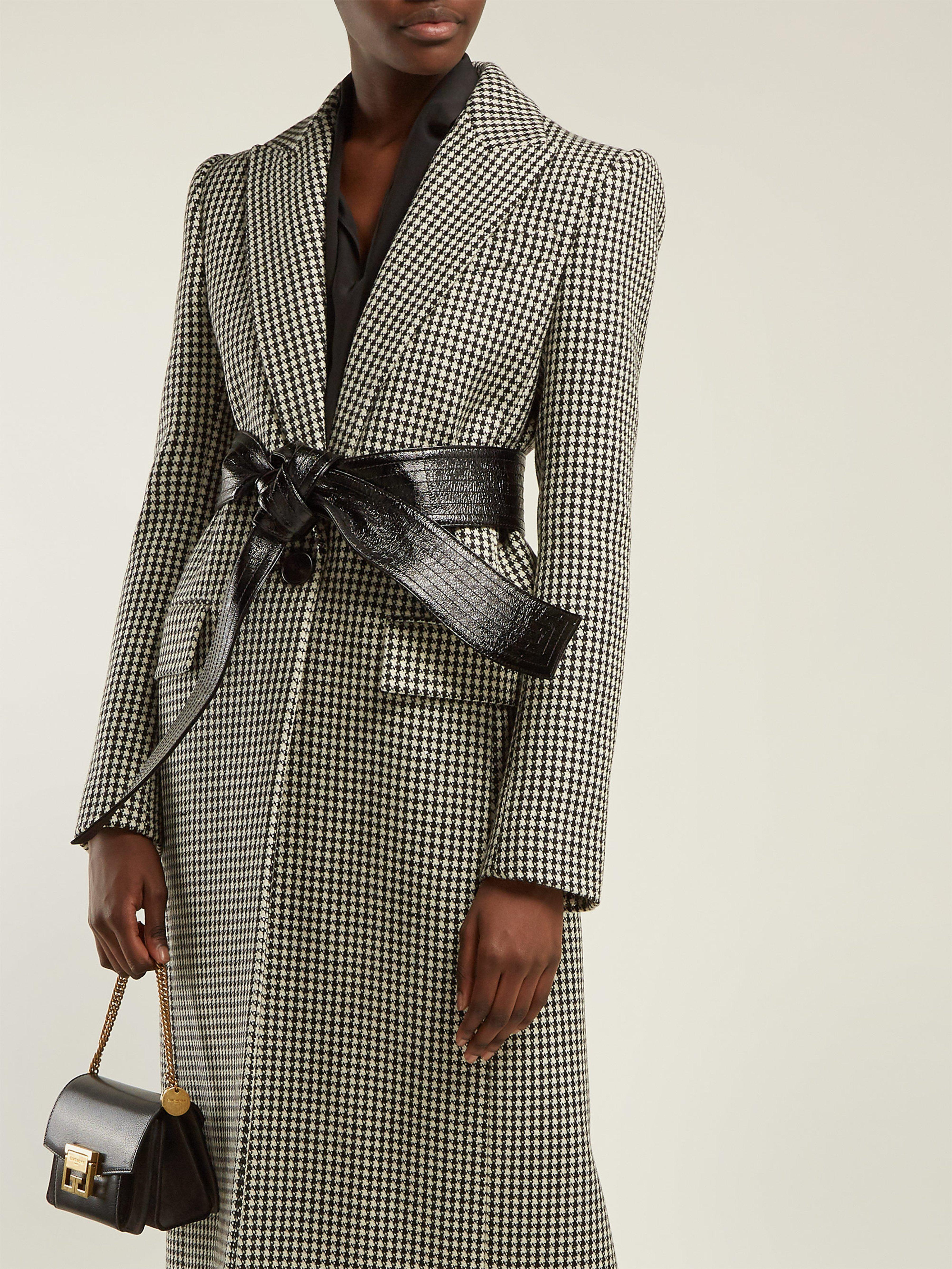 3ac4c99bdc0c Givenchy Houndstooth Wool Coat in Black - Lyst