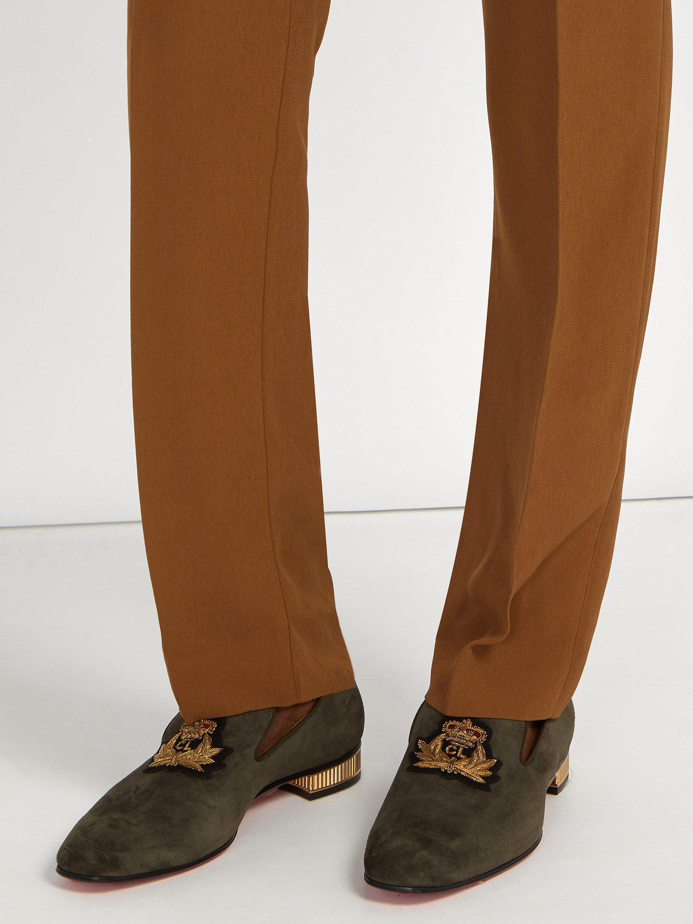 65e9cbff633b Lyst - Christian Louboutin Captain Colonnaki Crest Suede Loafers in Brown  for Men