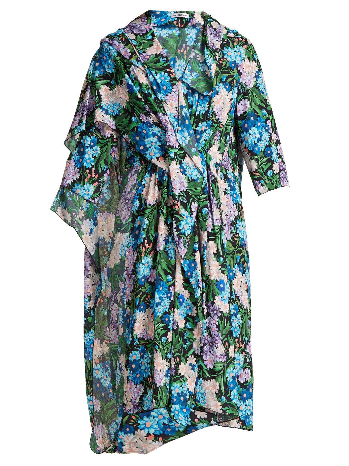 10e231b25b7f Balenciaga - Blue Draped Floral Printed Midi Dress - Lyst. View fullscreen