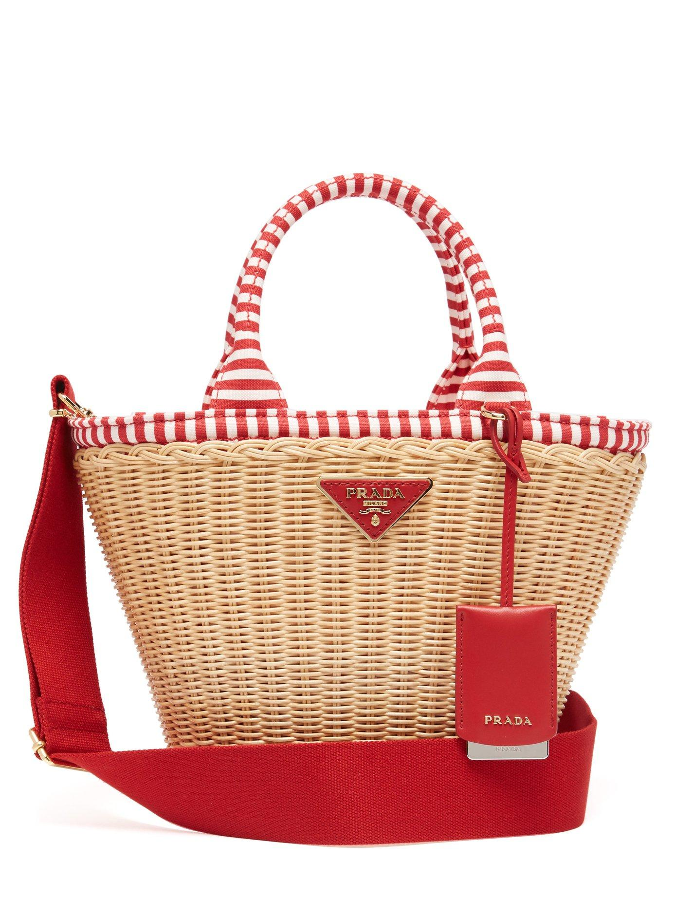 9cad6996a68 Lyst prada wicker and canvas basket bag in red jpg 1385x1846 Gucci bamboo  bag rattan