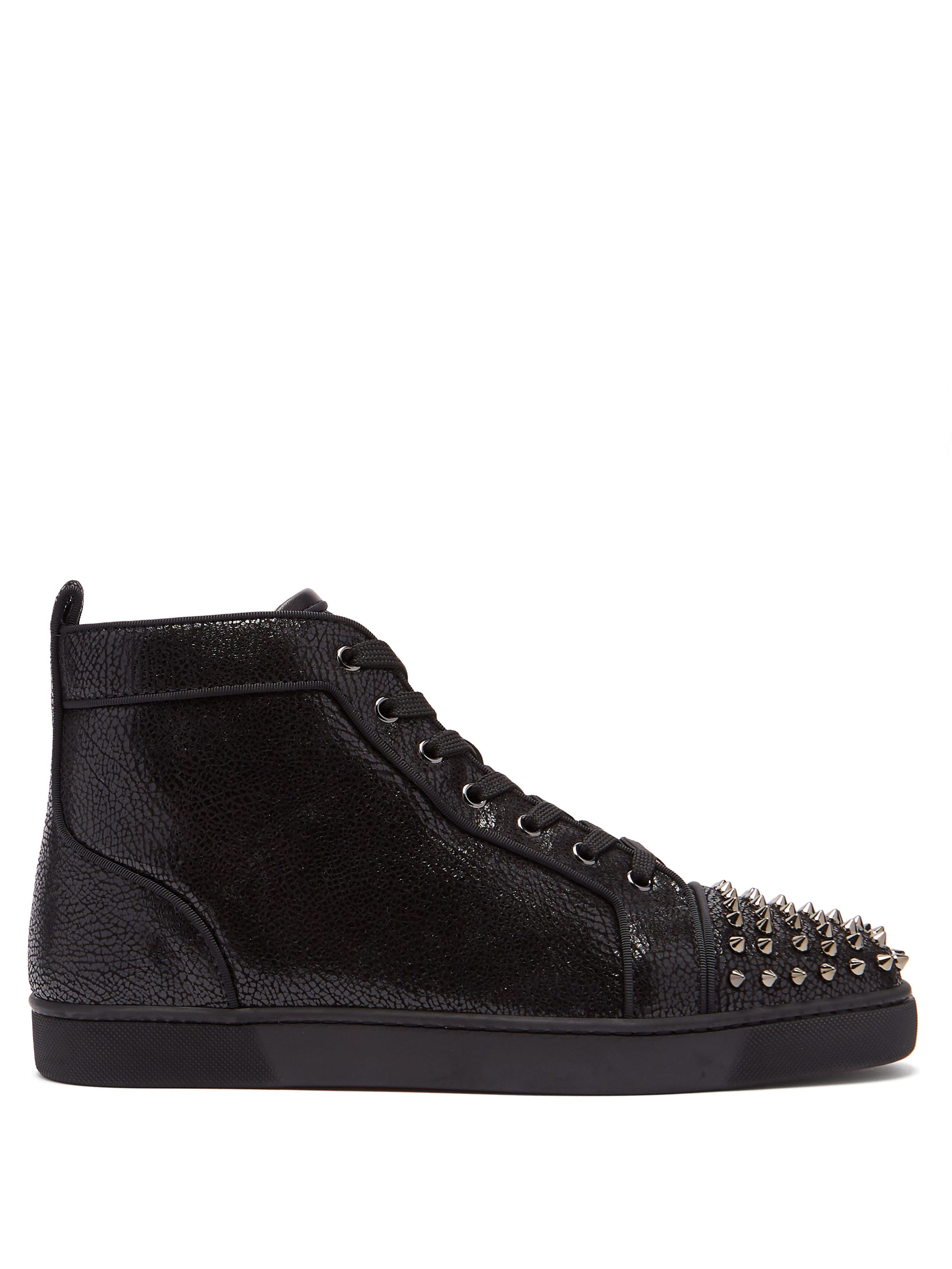 27084b8dfc9e Christian Louboutin. Men s Black Lou Spike Embellished Leather High Top  Trainers