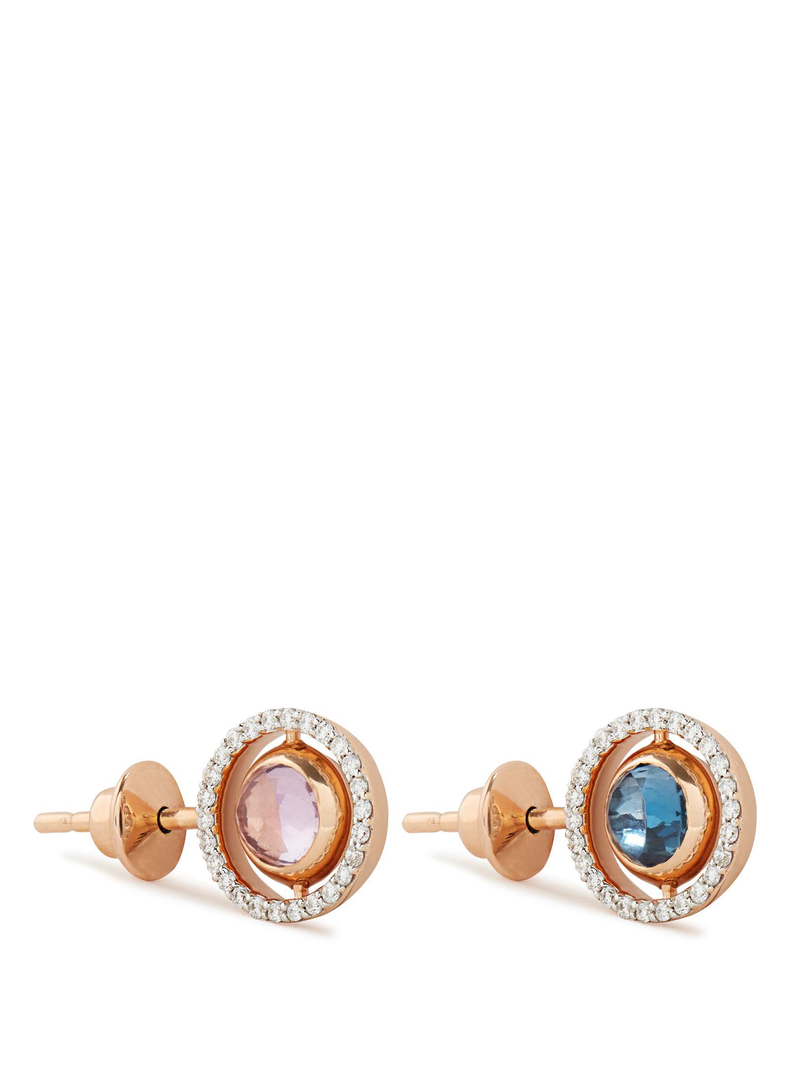 Marie Mas Diamond, amethyst, topaz & pink-gold earring