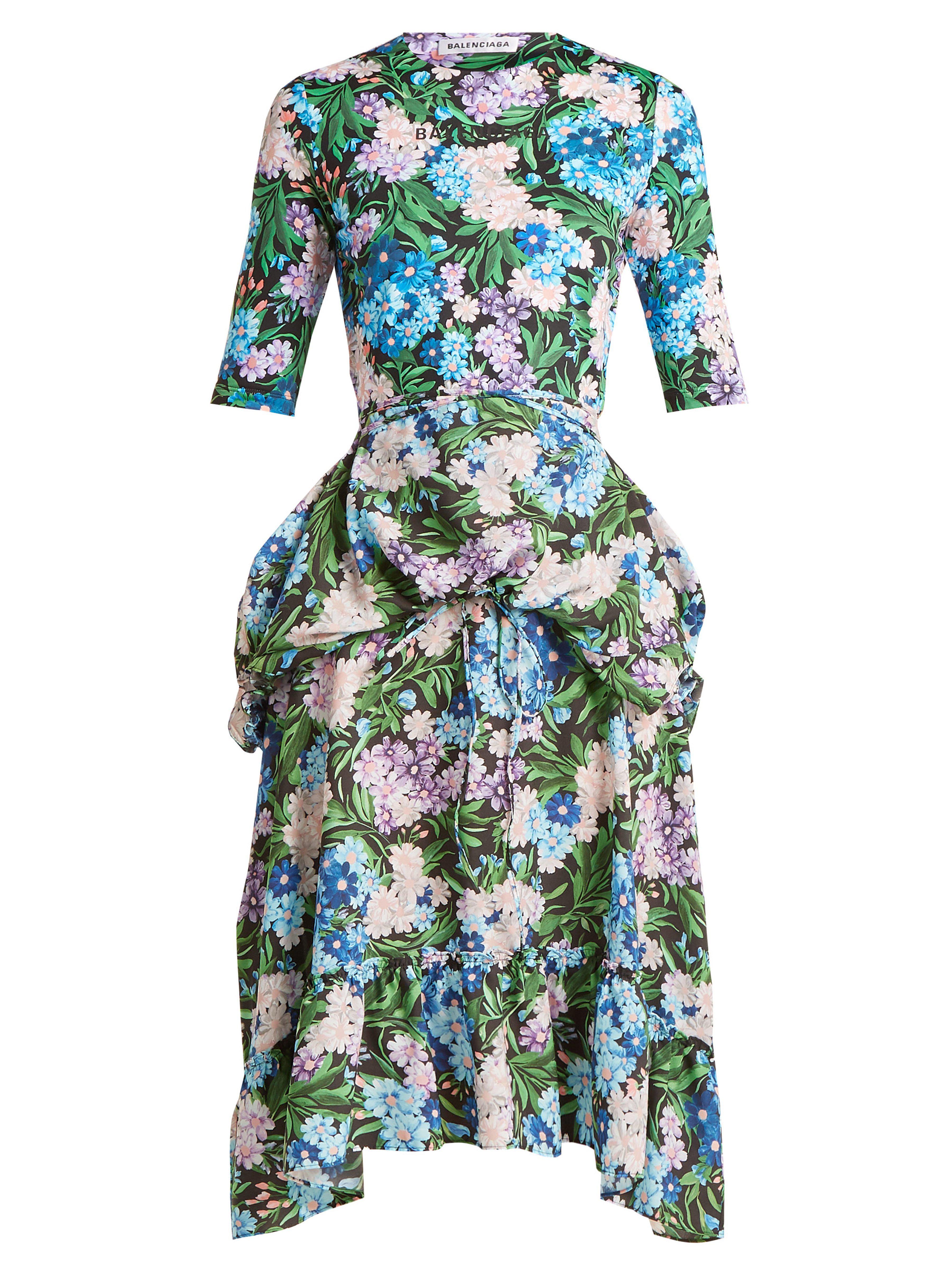 807cdf739b34 Balenciaga - Blue Floral Print Wrap Around Jersey Dress - Lyst. View  fullscreen