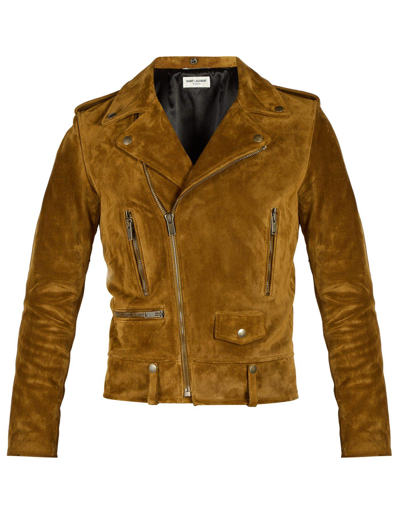 58b4b836d1c0 Lyst - Saint Laurent Suede Biker Jacket in Brown for Men