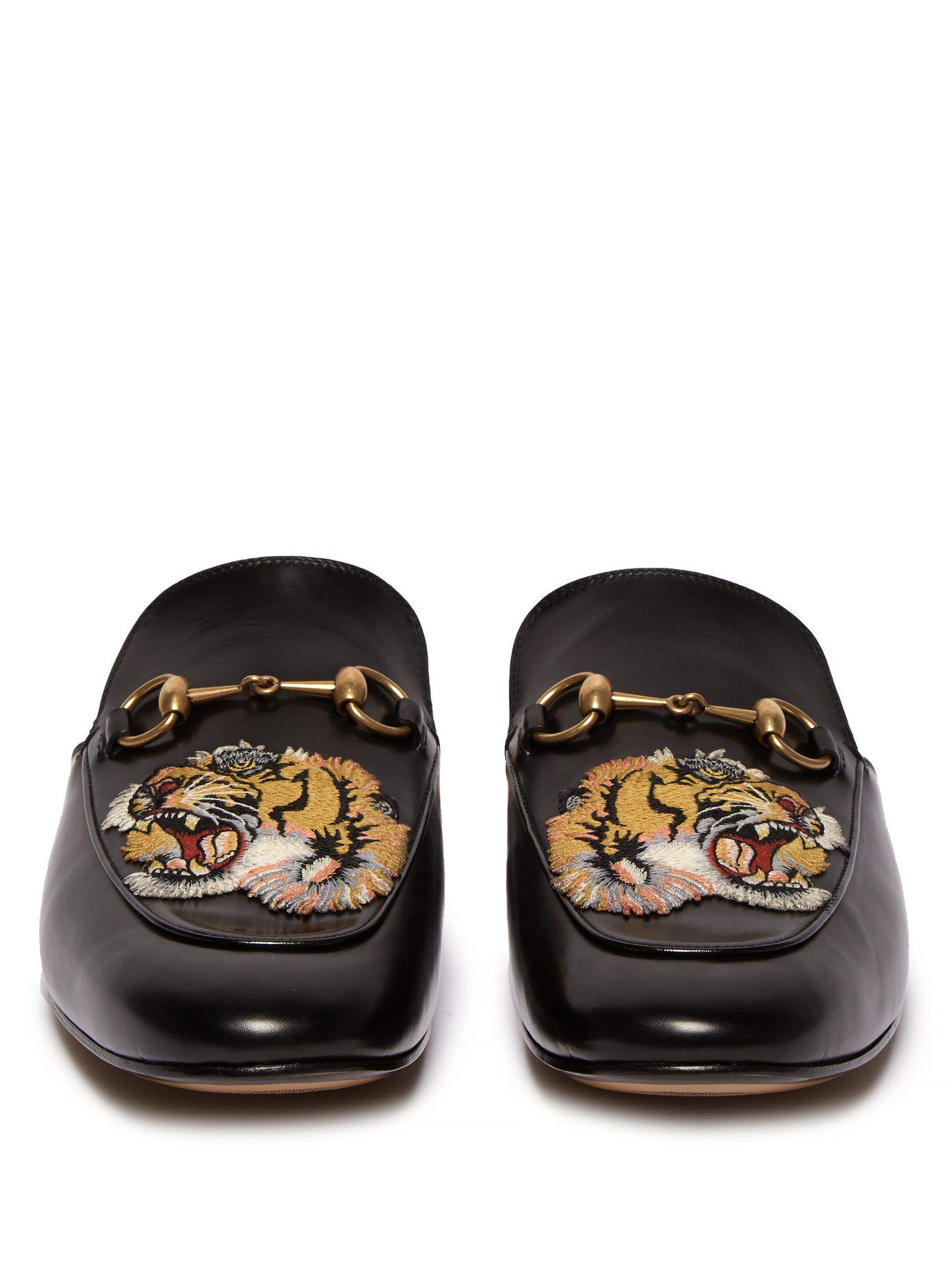 2fc4f4eba08 Gucci - Black Kings Tiger Appliqué Backless Leather Loafers for Men - Lyst.  View fullscreen
