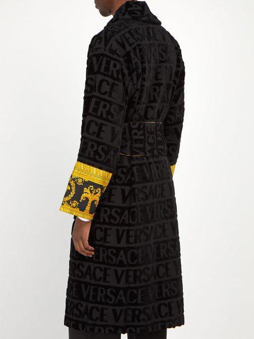 Versace - Print Panelled Logo Jacquard Cotton Bathrobe - Mens ... d81c5d9f7