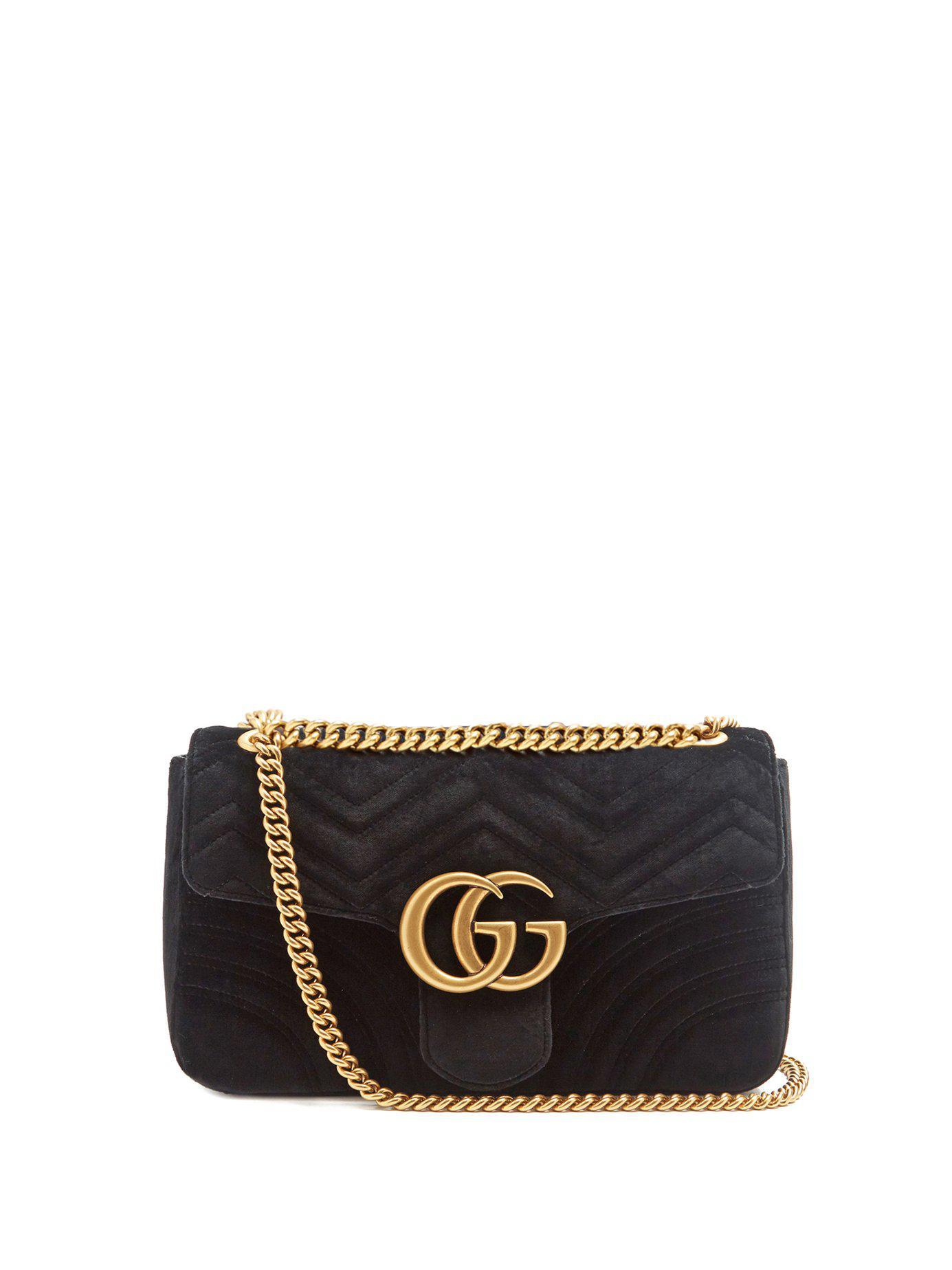 71035cf962fb Gucci Gg Marmont Mini Velvet Quilted Shoulder Bag in Black - Lyst