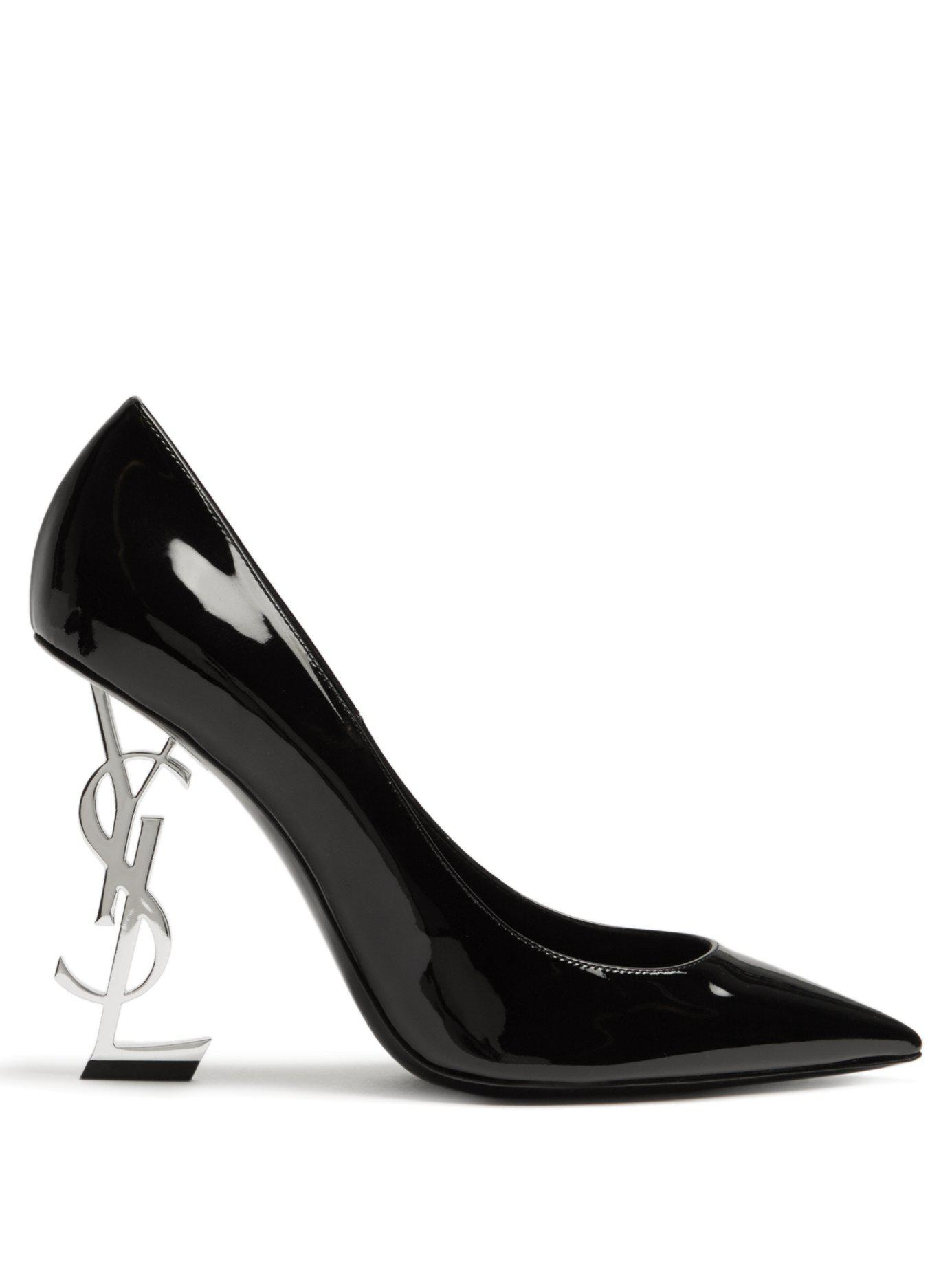 585aad96451a Lyst - Saint Laurent Opium Logo-heel Patent-leather Pumps in Black