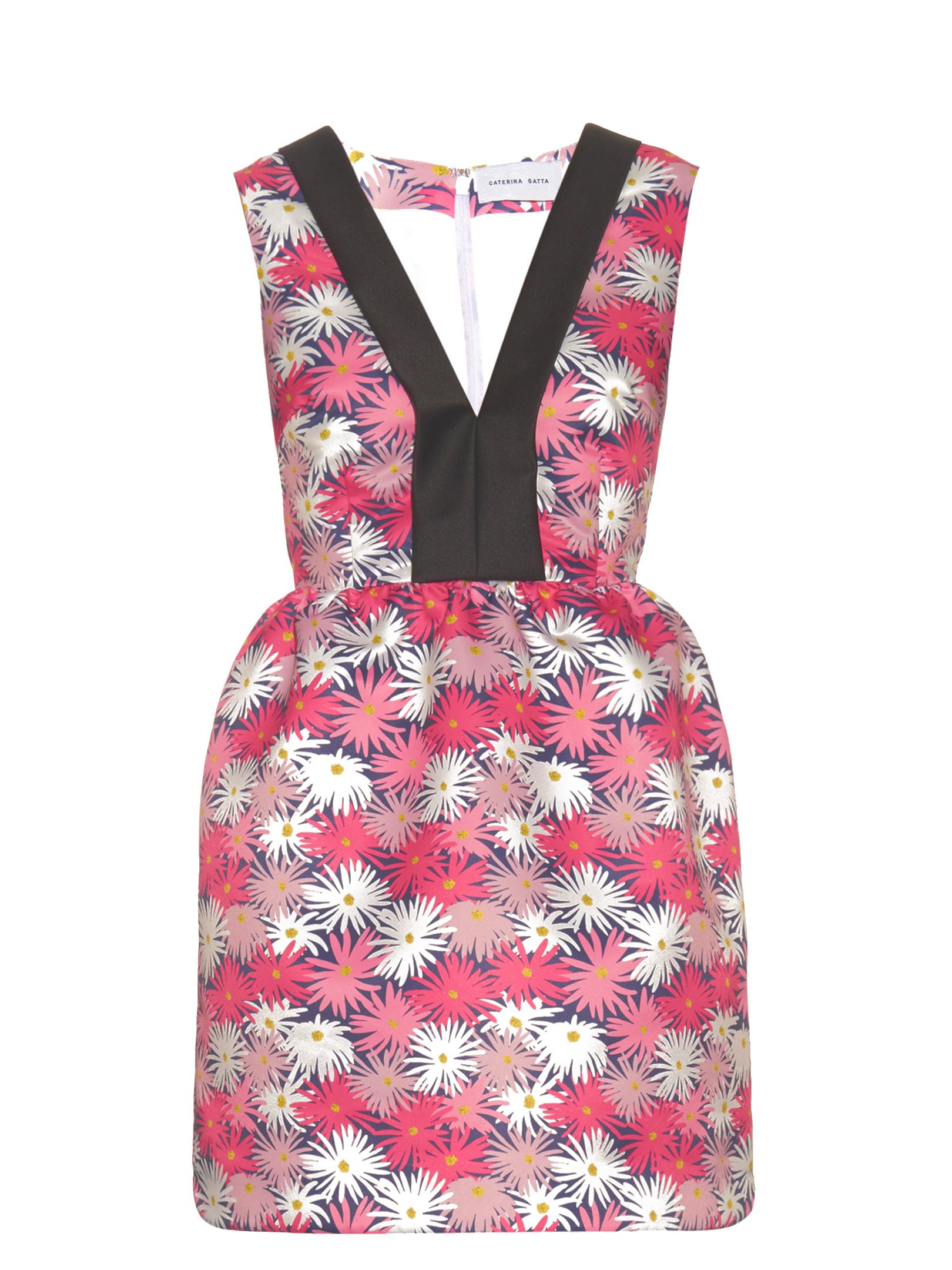 Contrast-neckline daisy-print dress Caterina Gatta WP5ZI