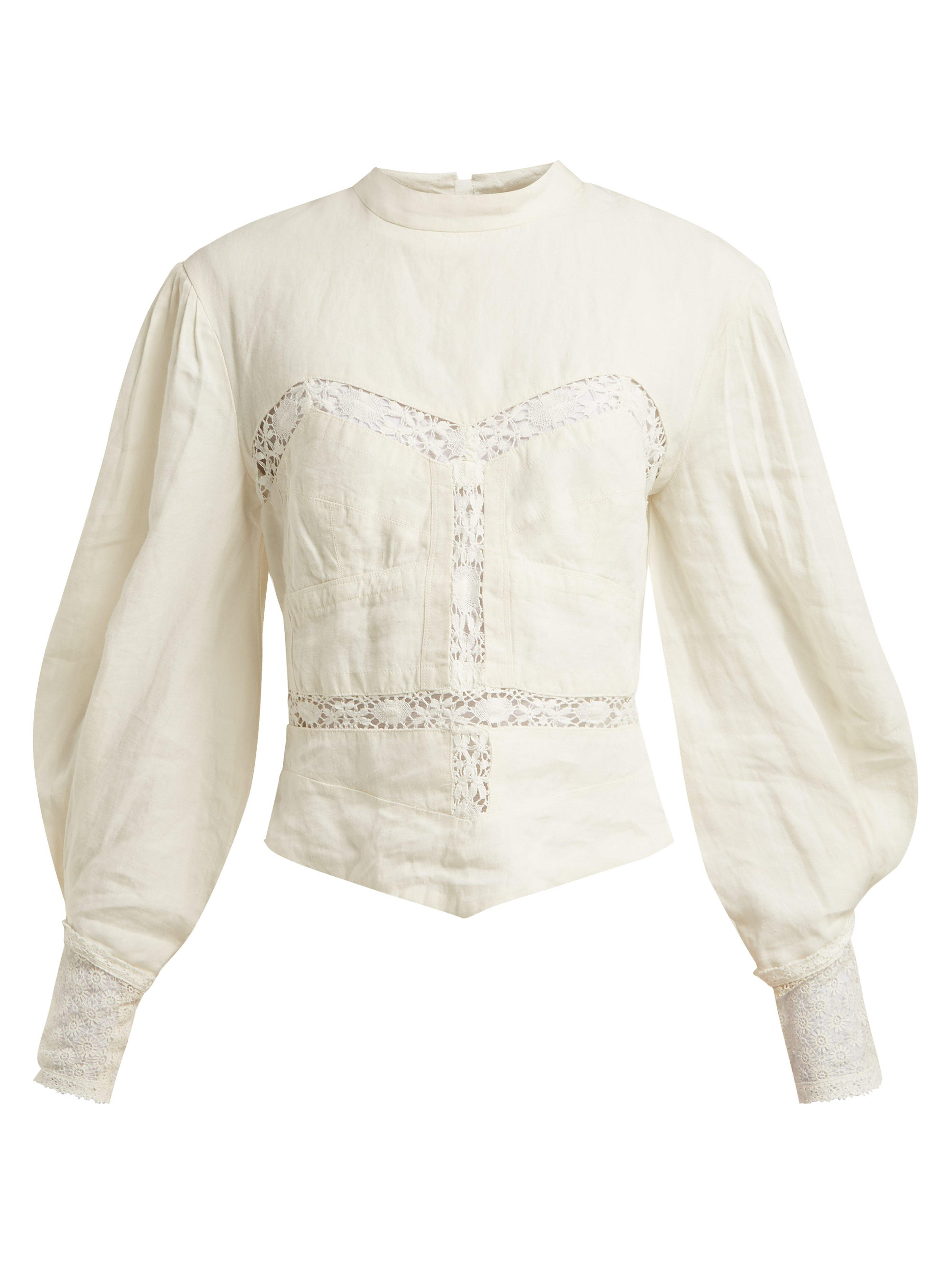 d15c4dd537f9b Isabel Marant Lyneth Lace High Neck Linen Top in White - Lyst