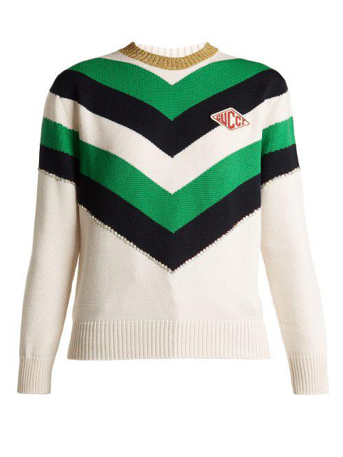 e6701f4b50f28c Gucci Chevron Striped Wool Sweater in Green - Lyst