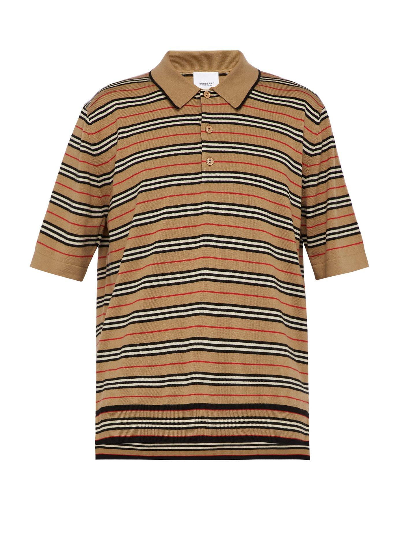 2b725c4b1 Lyst - Burberry Icon Stripe Merino Wool Polo Shirt in Natural for ...
