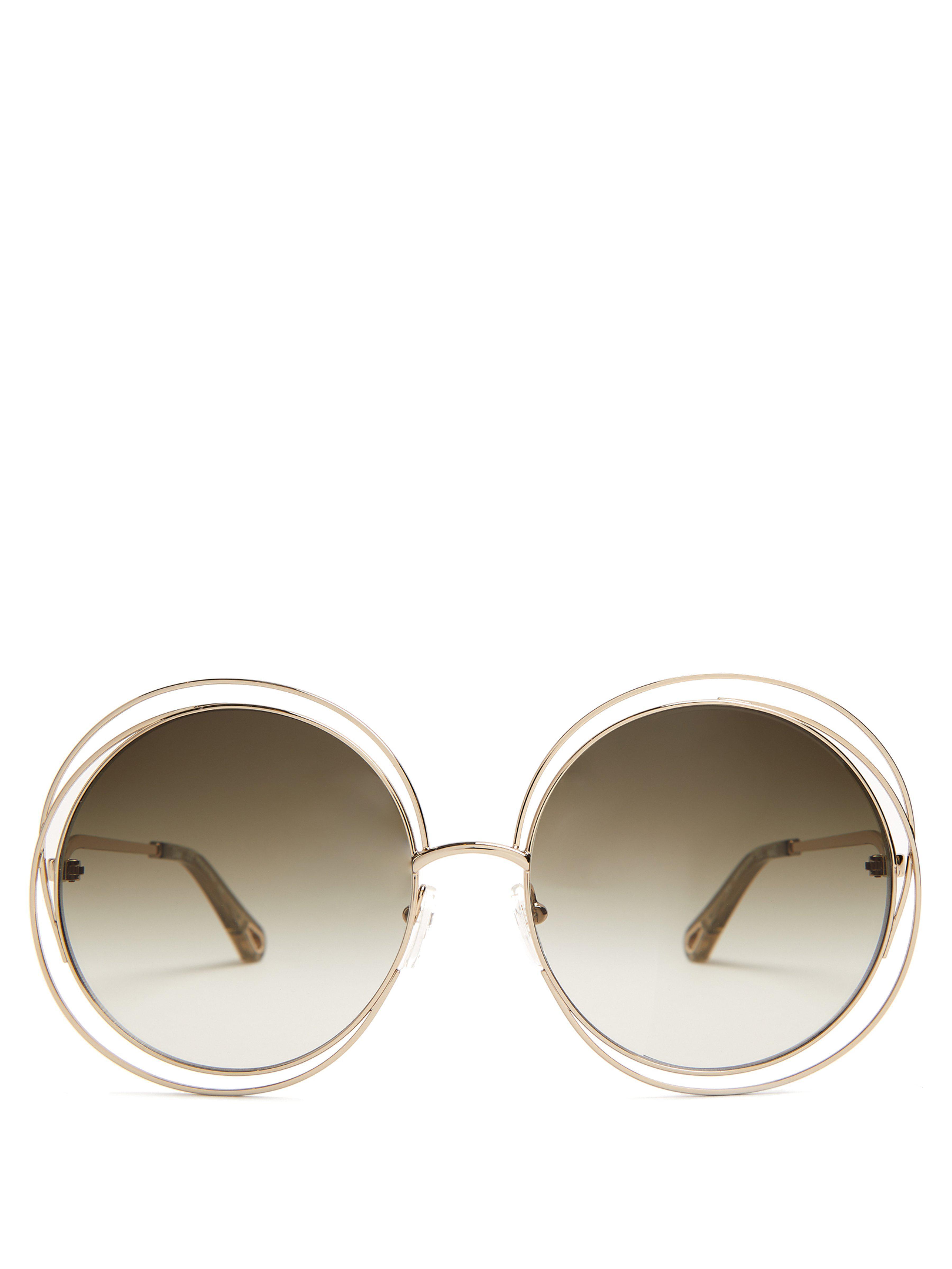 ca05c883231 Chloé Carlina Round Frame Sunglasses in Gray - Lyst