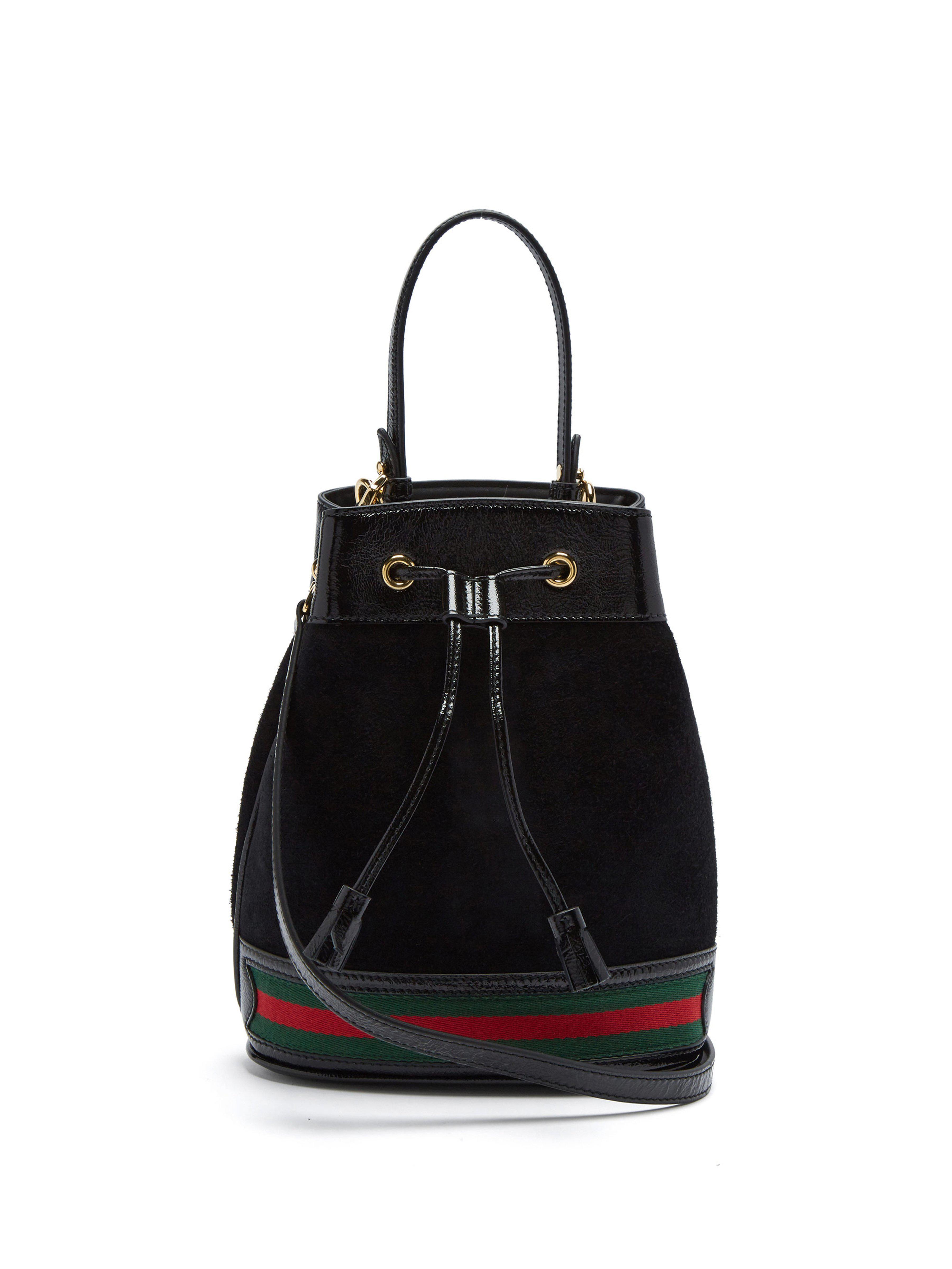 fff6afc6ba8c Gucci Ophidia Suede Bucket Bag in Black - Lyst