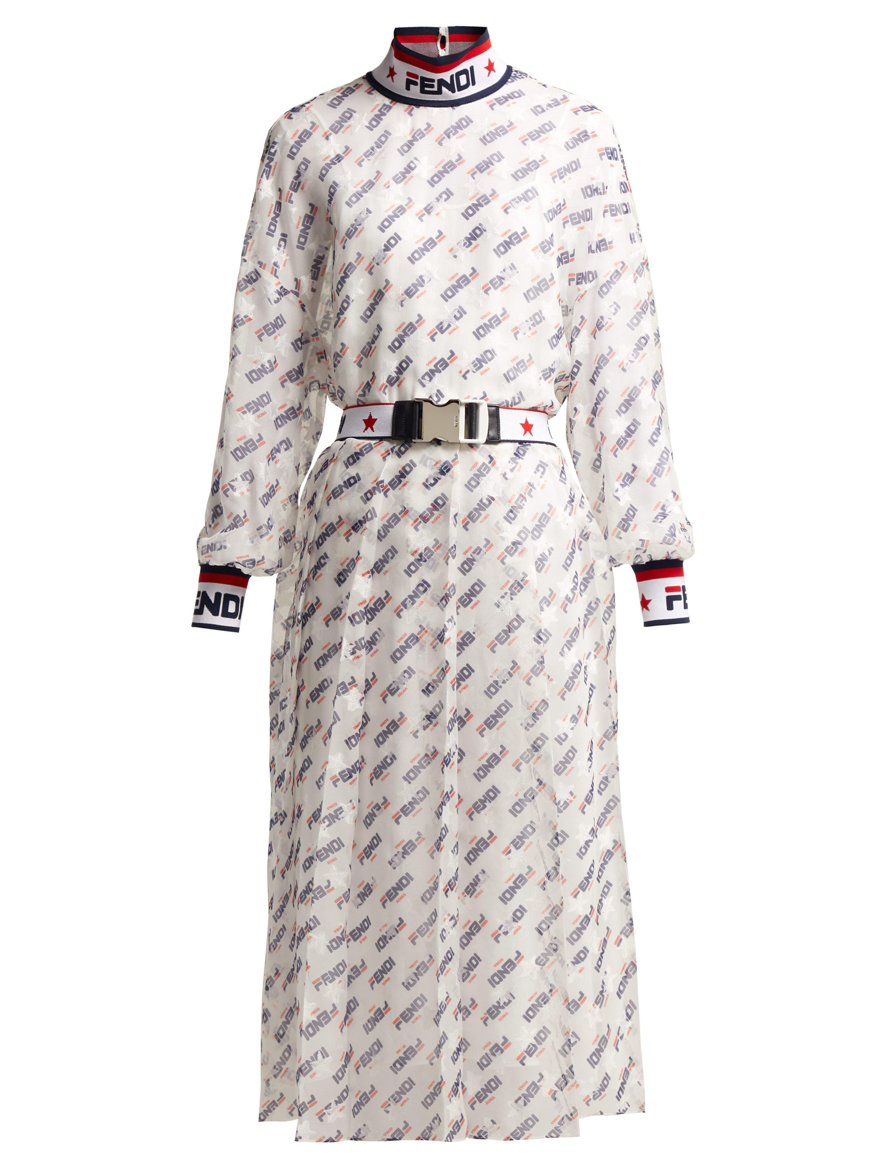 322bb37d8b44 Fendi - White Mania Logo Print Silk Blend Georgette Dress - Lyst. View  fullscreen