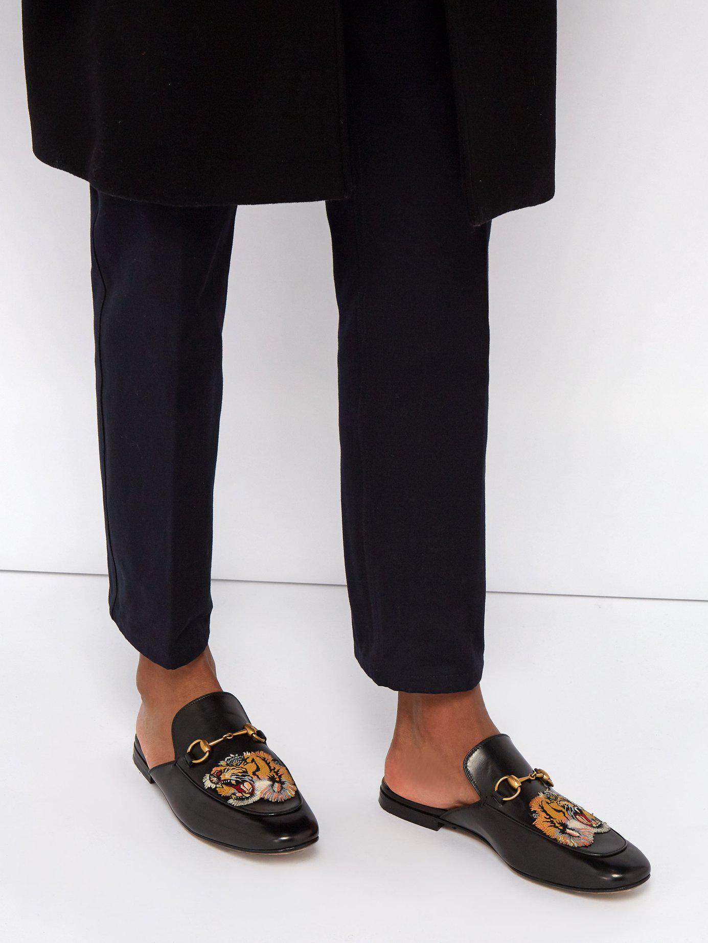 2a7dda65bdb Lyst - Gucci Kings Tiger Appliqué Backless Leather Loafers in Black for Men