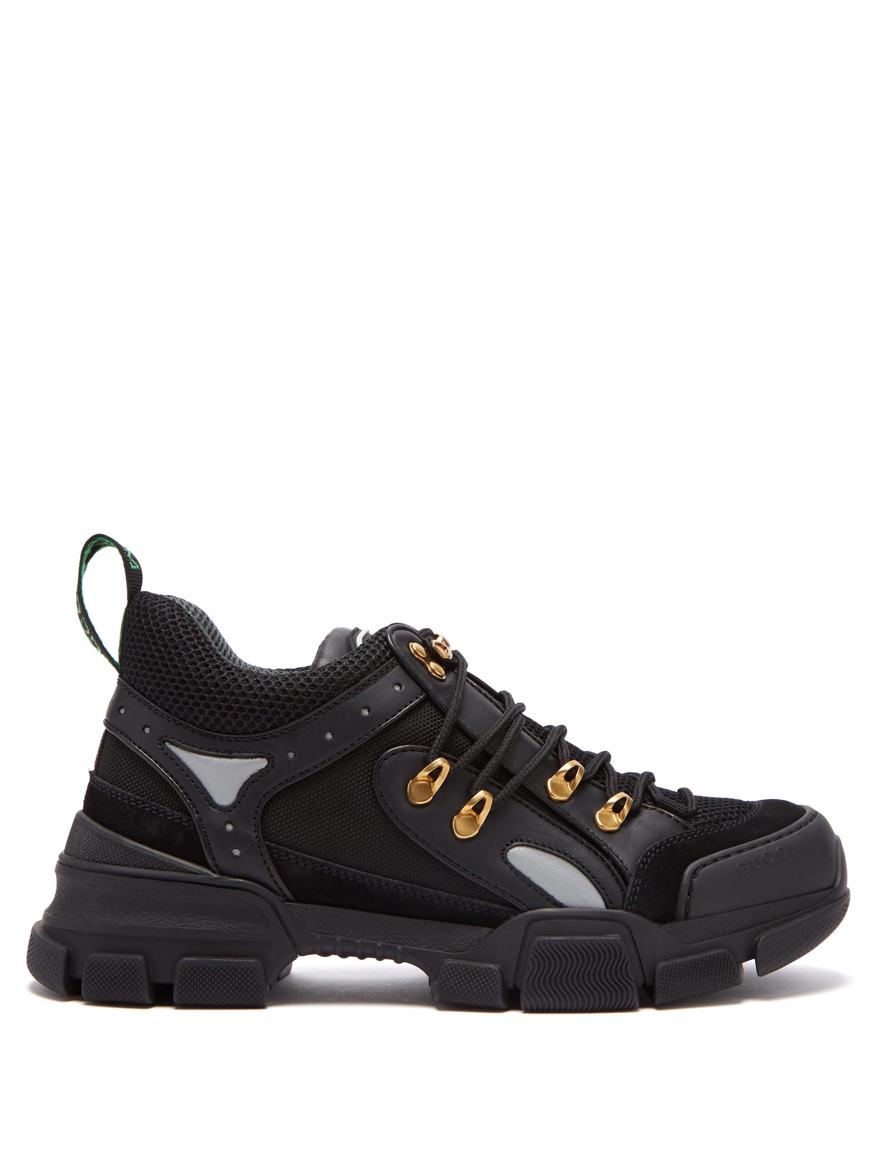 2300413575f3 Gucci Flashtrek Leather Trimmed Trainers in Black - Save 22% - Lyst