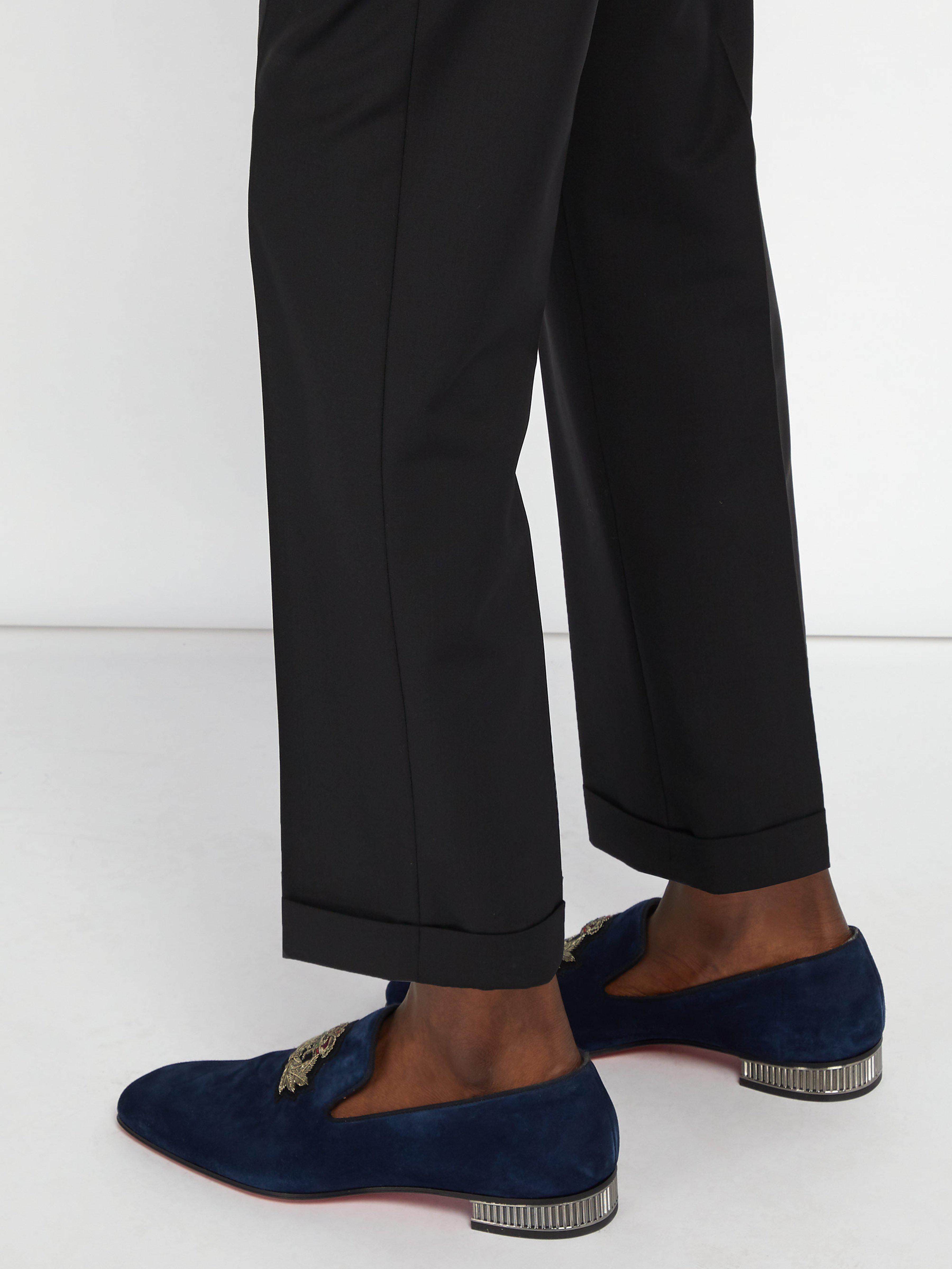 13e302caae2 Christian Louboutin Captain Colonnaki Suede Loafers in Blue for Men - Lyst