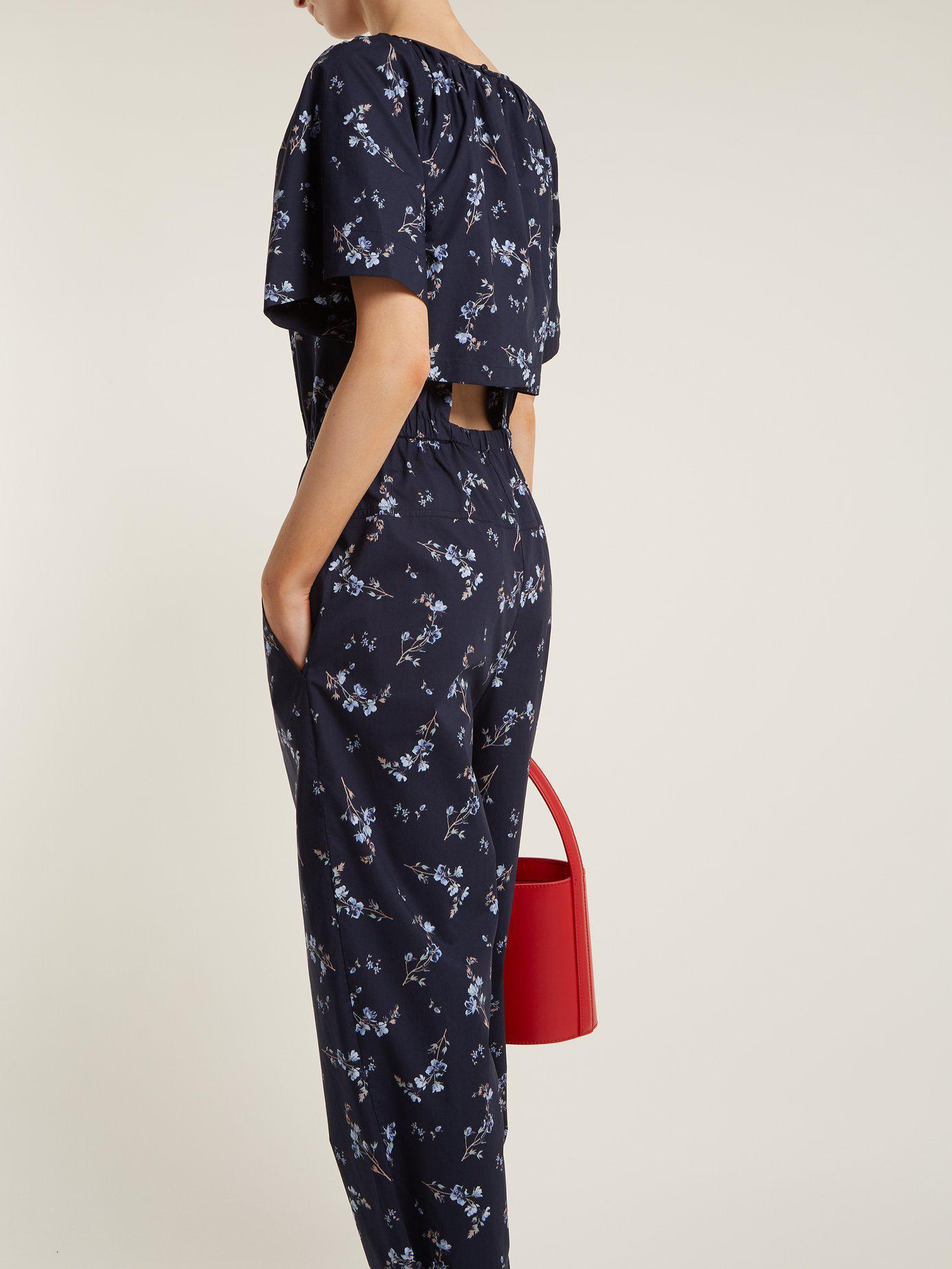 bd85f5a0e4b Rebecca Taylor Francine Floral Print Jumpsuit in Blue - Lyst