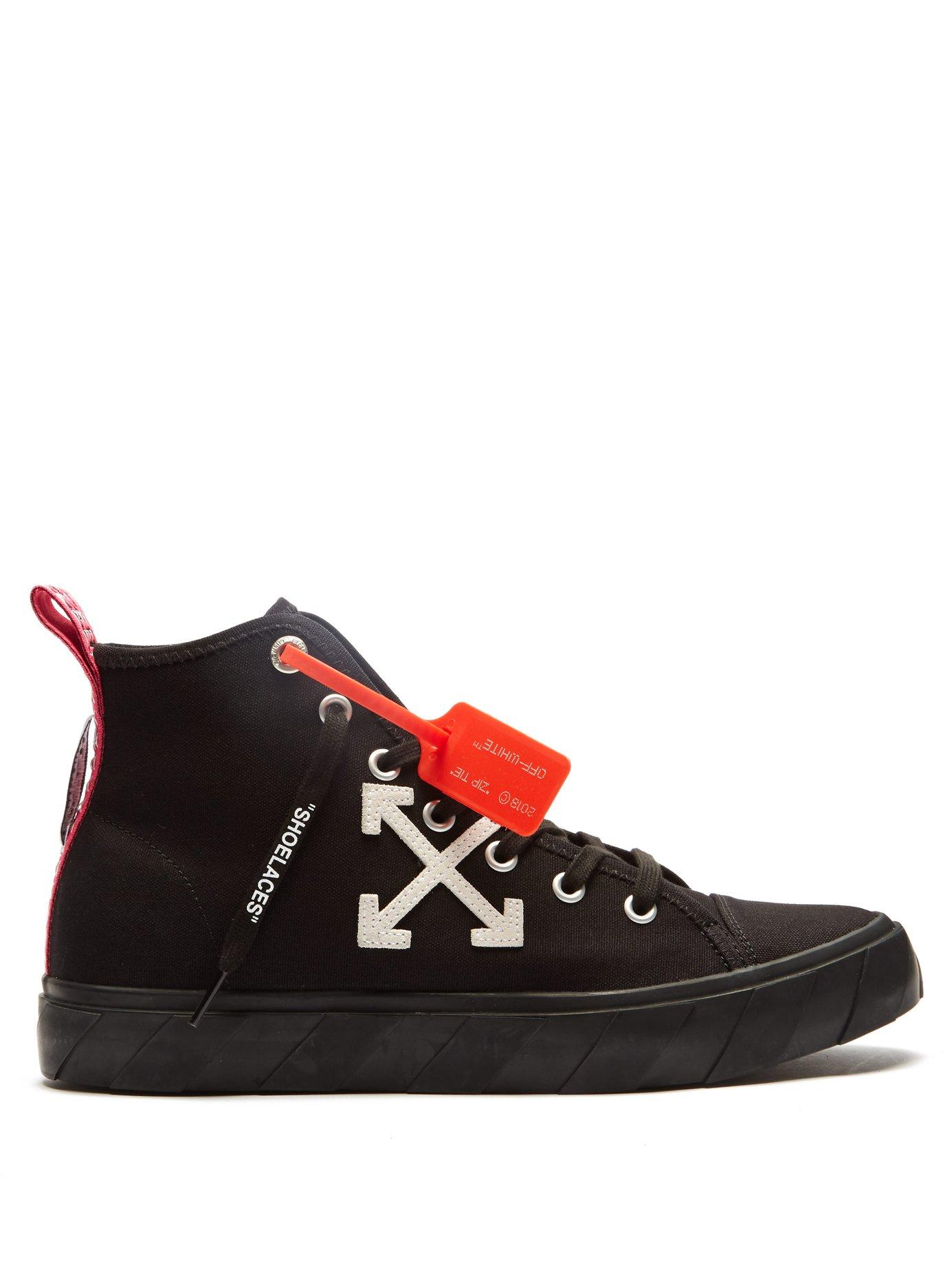 6bc459283e71 Lyst - Off-White c o Virgil Abloh Logo High Top Canvas Trainers in ...