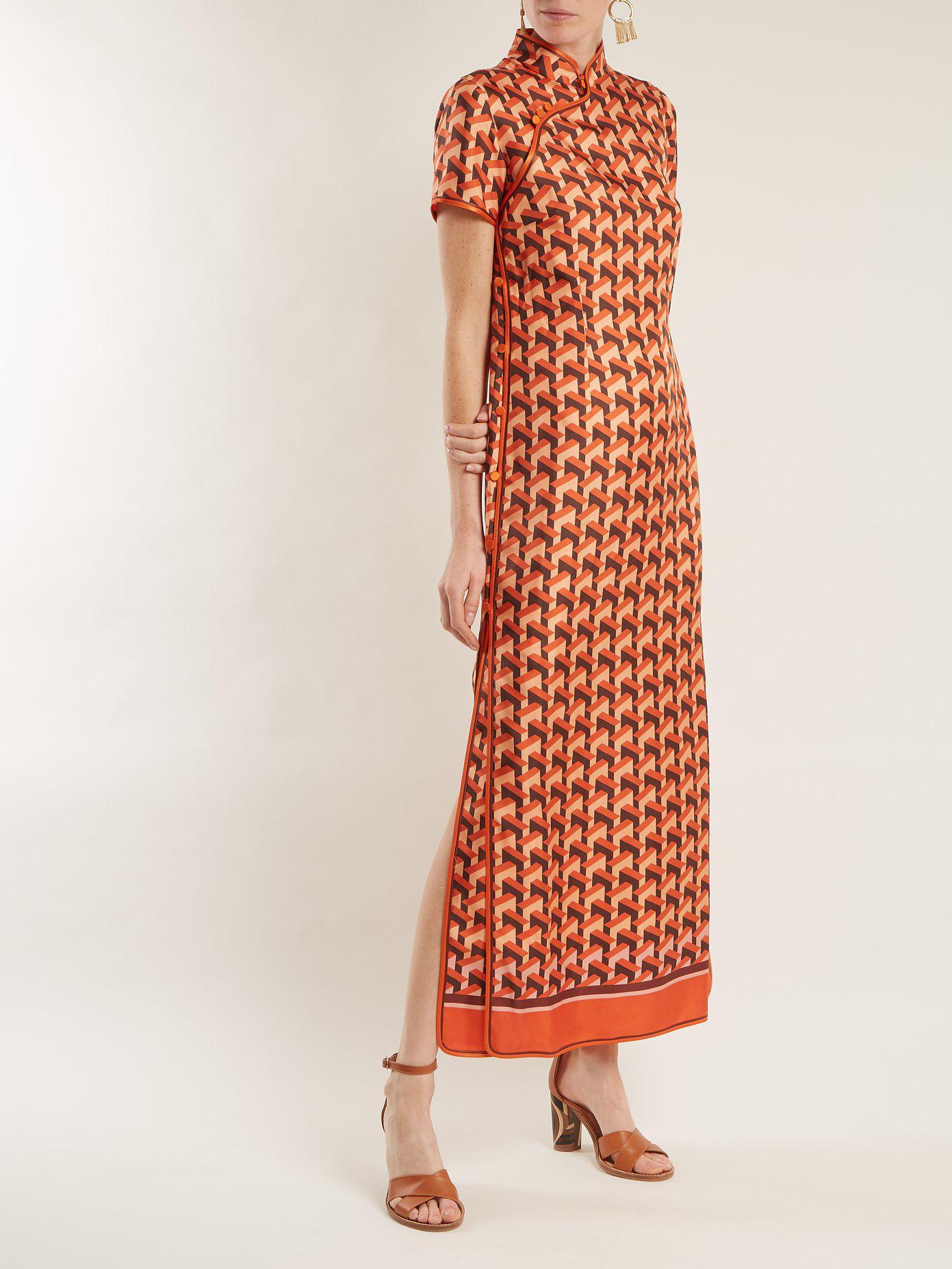 Eutenea Printed Silk-twill Midi Dress - Orange F.R.S. For Restless Sleepers i3WNh