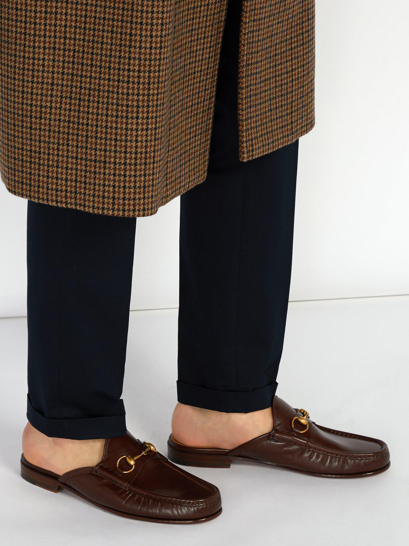 03afeaeda55 Lyst - Gucci Roos Leather Backless Loafers in Brown for Men
