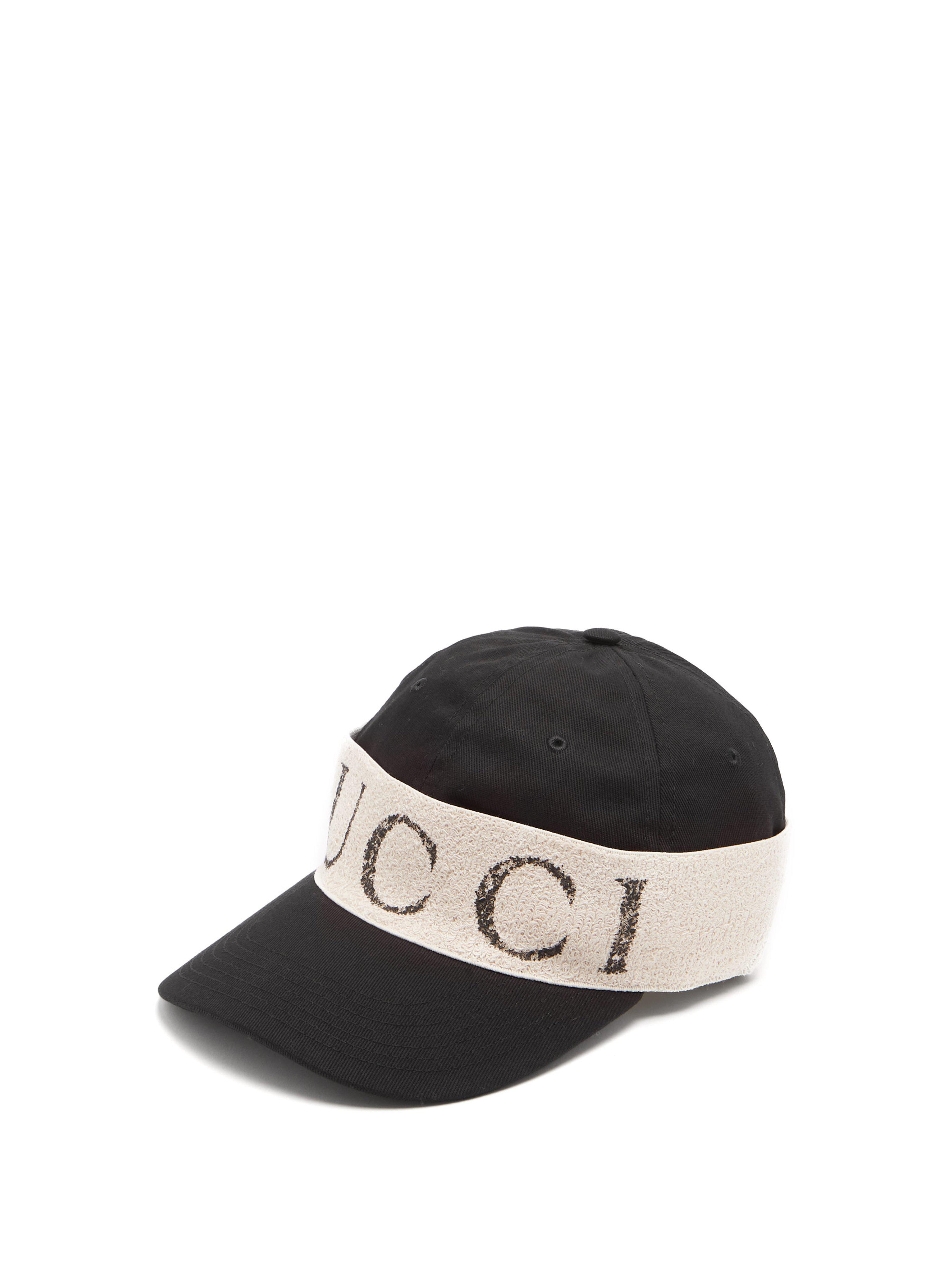 e1742fb68e8 Gucci Logo Print Cotton Cap in Black for Men - Lyst