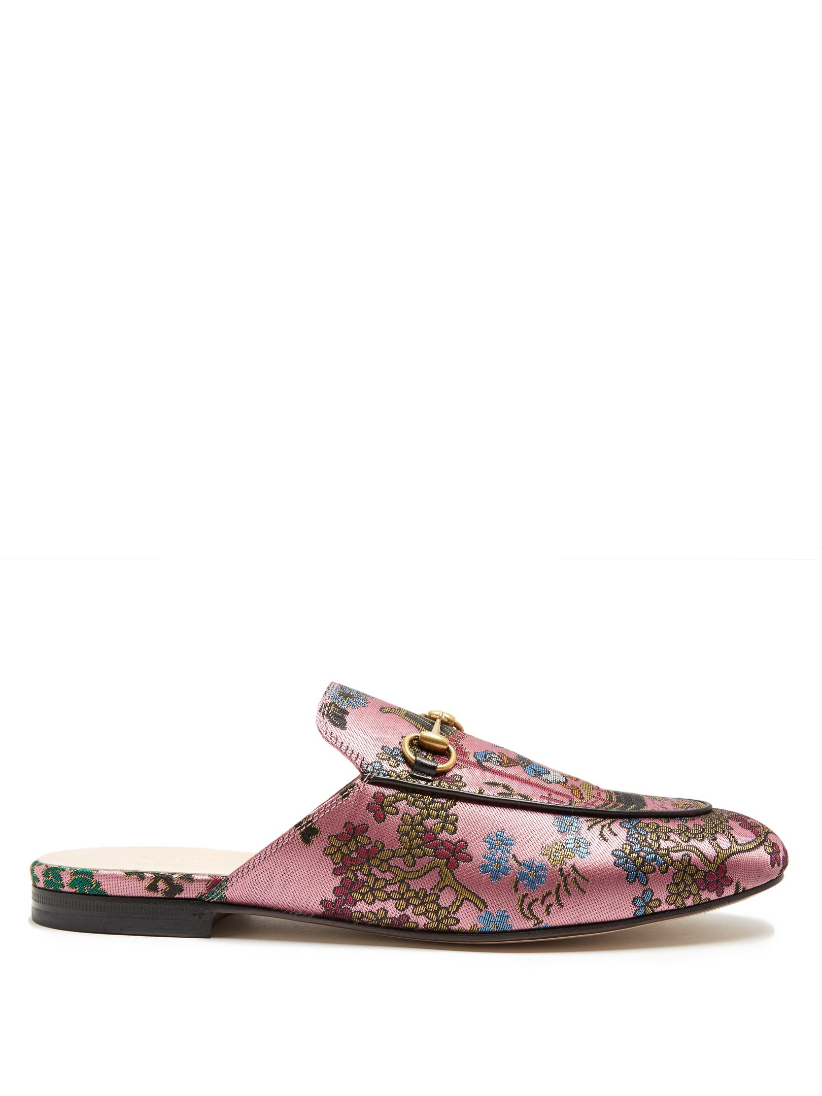 Lyst - Gucci Princetown Jacquard Backless Loafers in Pink