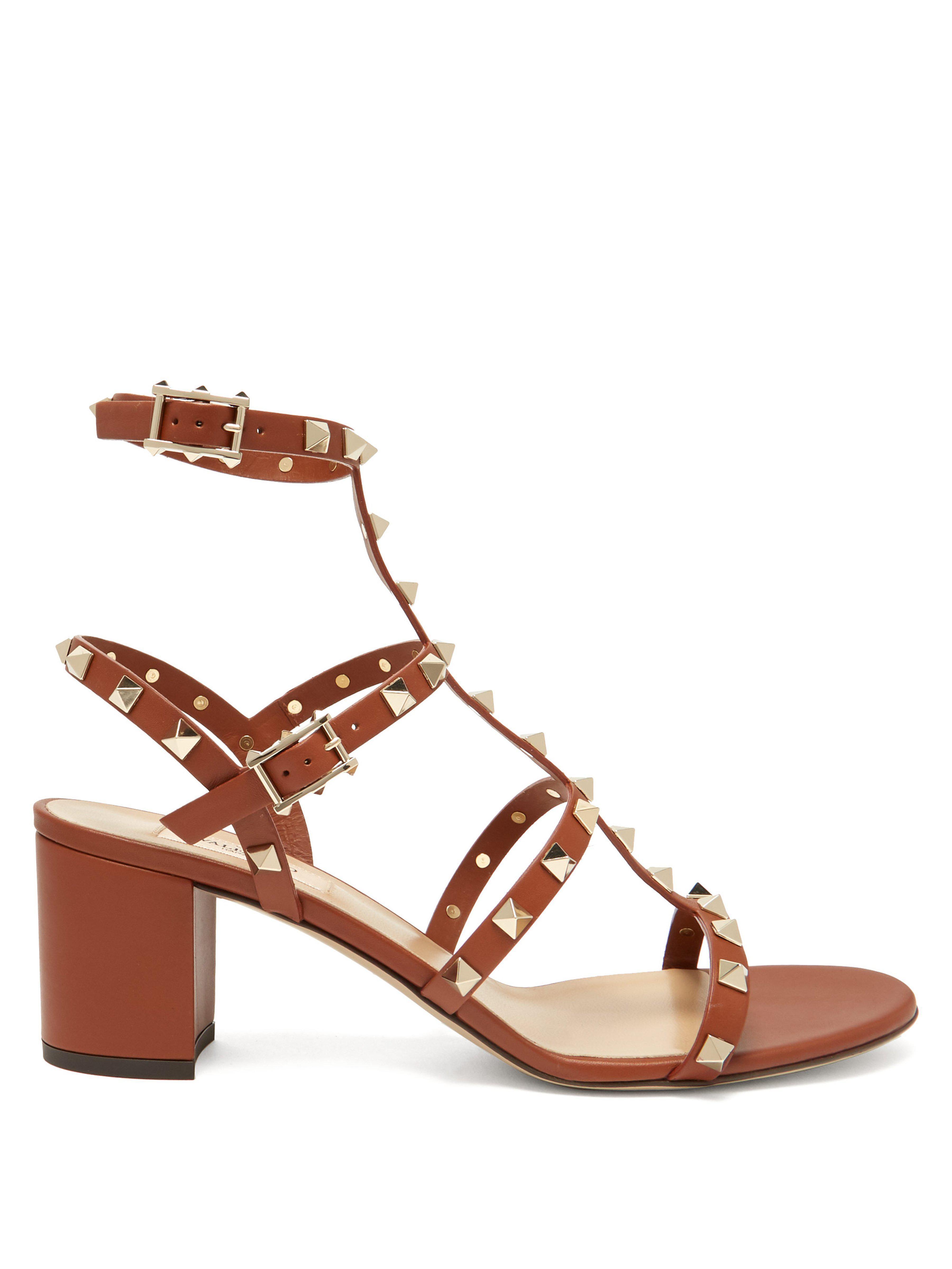 9e2f60e9b87 Valentino Rockstud Block Heel Leather Sandals in Brown - Lyst