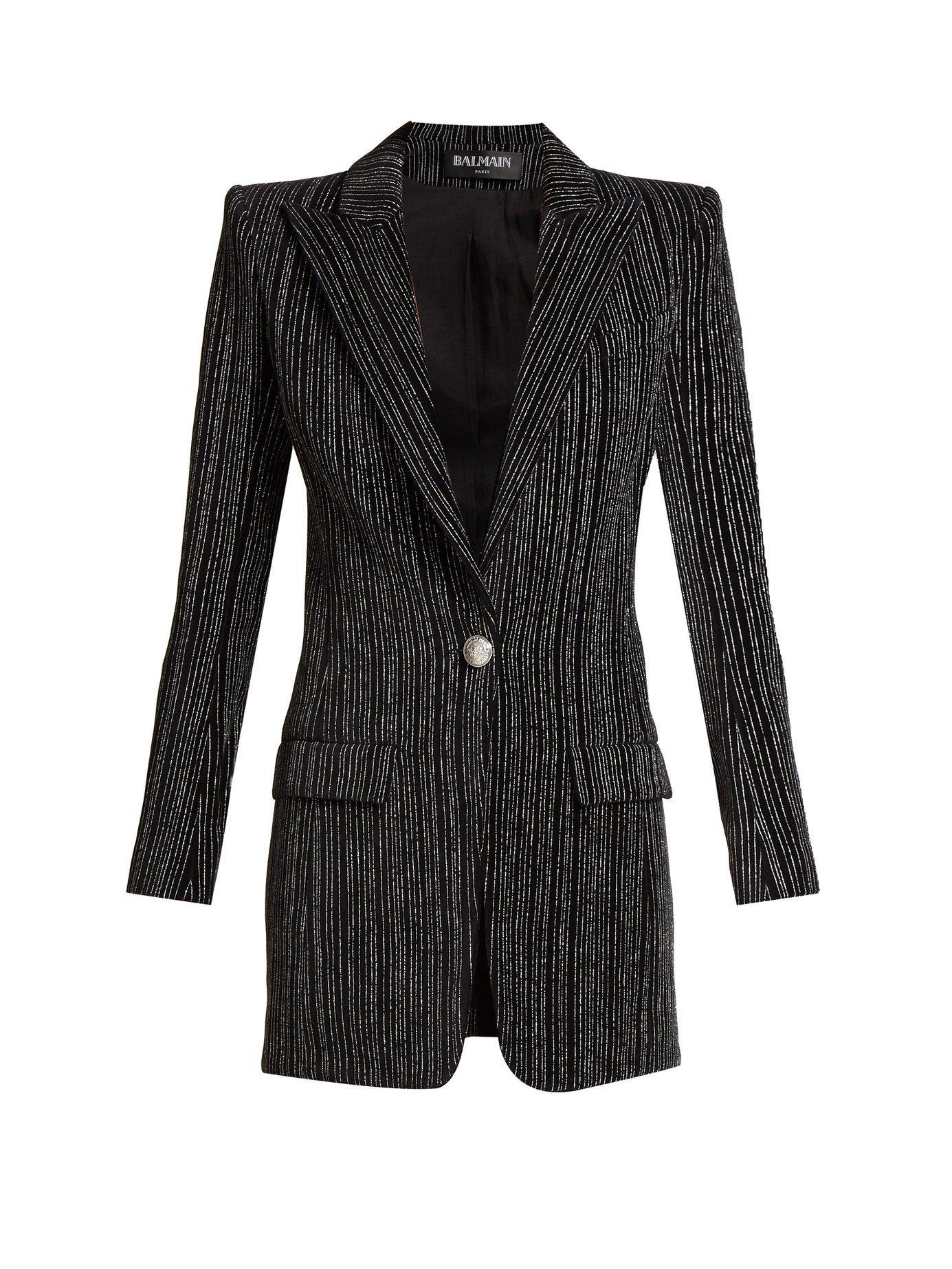 fd183fef Balmain - Black Striped Single Breasted Velvet Blazer - Lyst. View  fullscreen